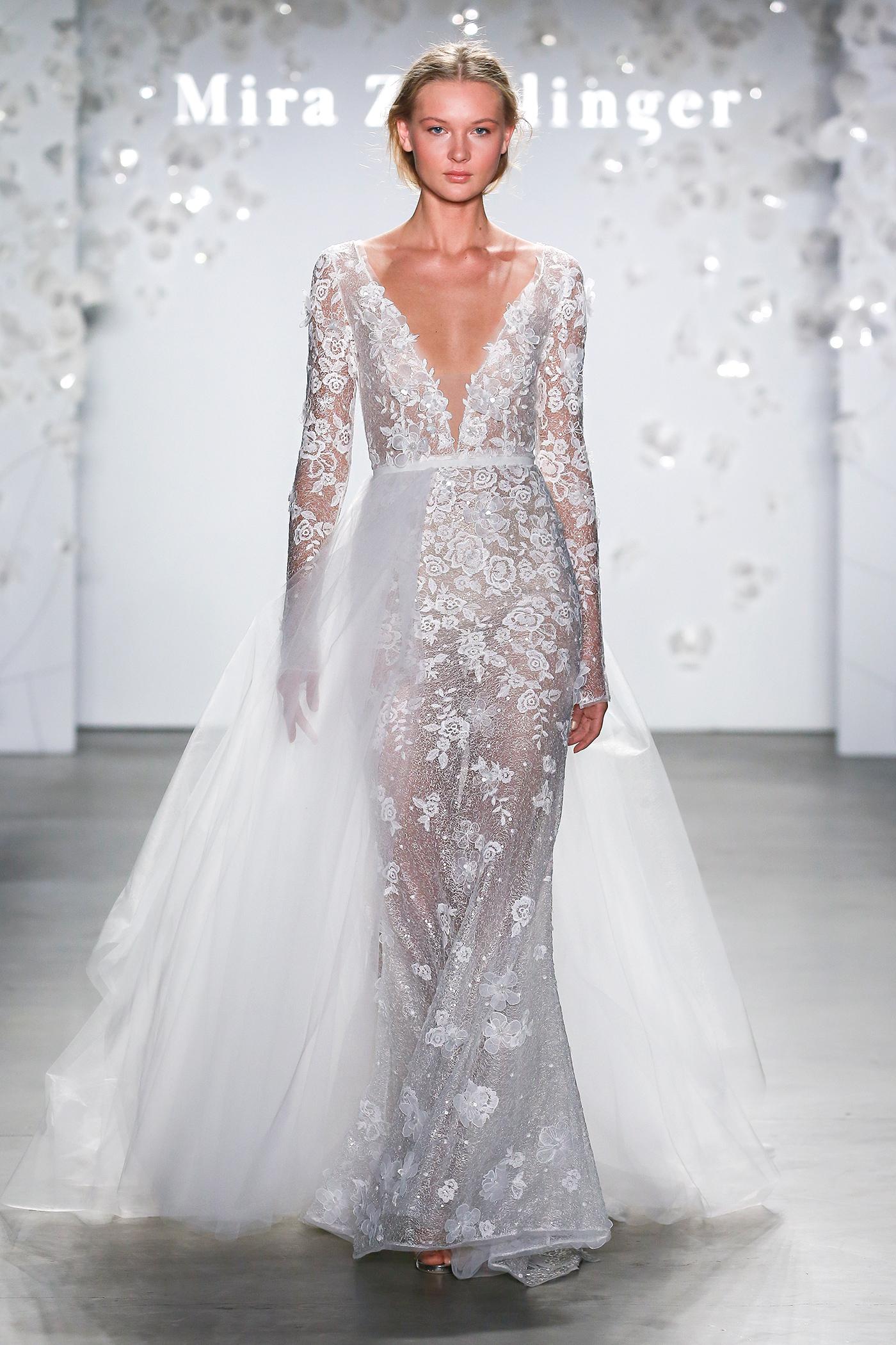 mira zwillinger plunging neck skirt overlay wedding dress spring 2020