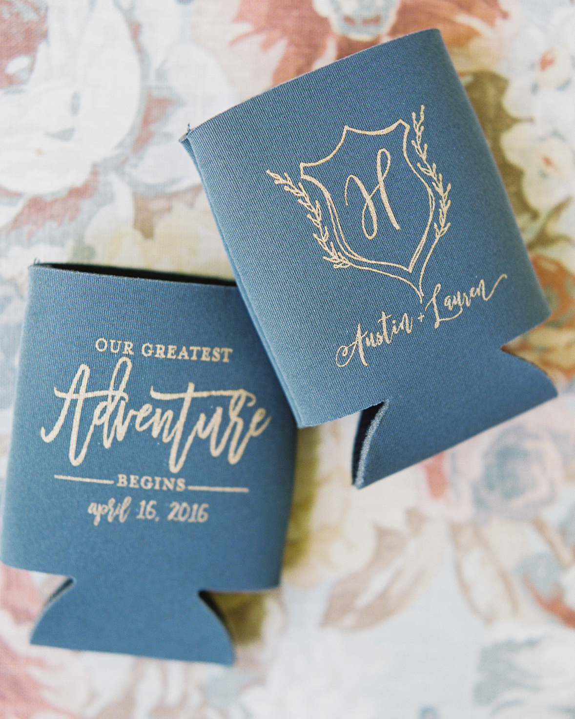 wedding after party monogramed koozies