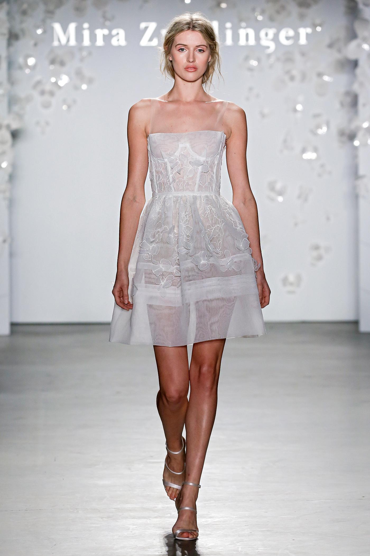 mira zwillinger sheer short applique wedding dress spring 2020
