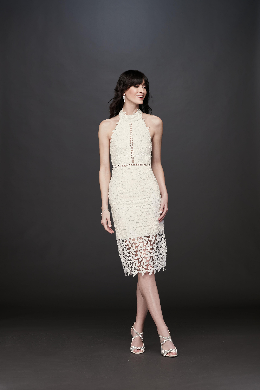high neck keyhole tea length embroidered lace wedding dress DB Studio Spring 2020