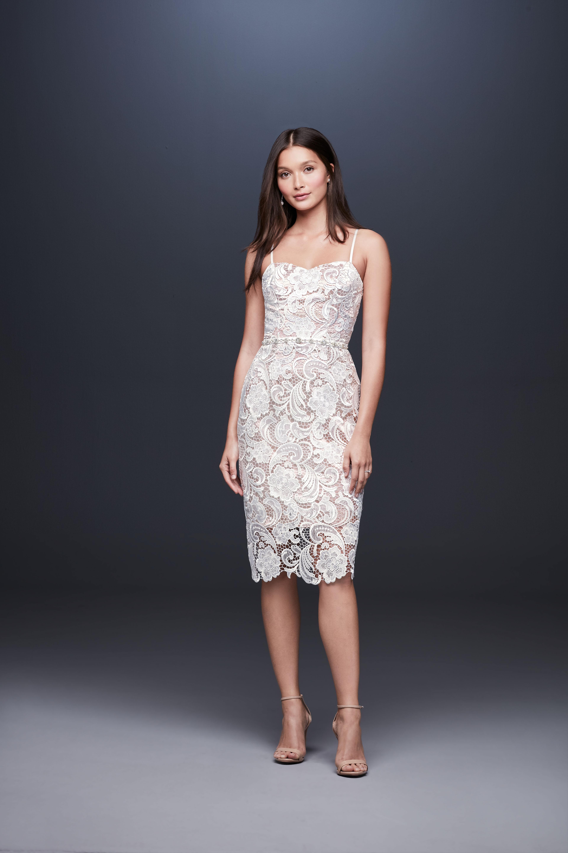 knee length embroidered lace spaghetti strap wedding dress DB Studio Spring 2020