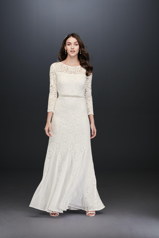 boat neck lace long sleeve a-line wedding dress DB Studio Spring 2020