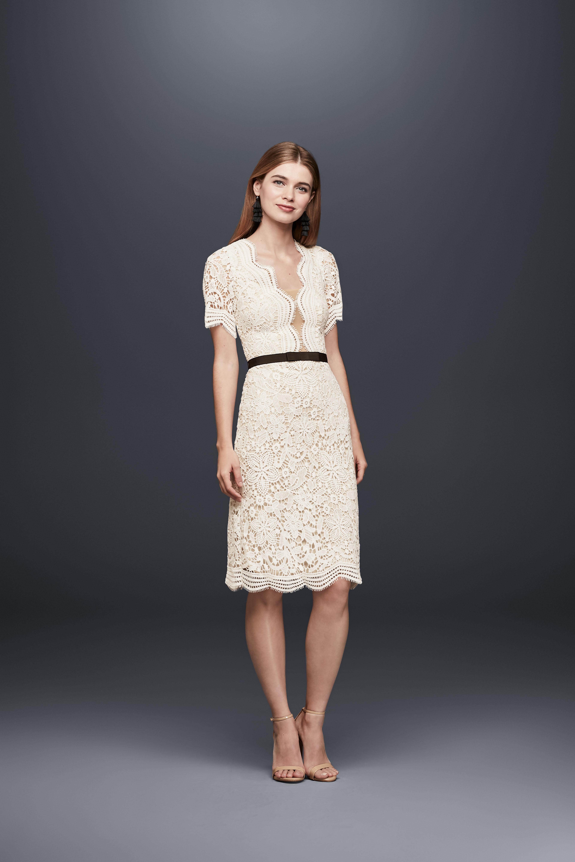 short sleeve plunging v-neck belted knee-length lace wedding dress DB Studio Spring 2020