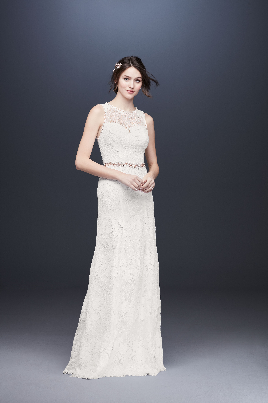 illusion sleeveless lace wedding dress davids bridal galina Spring 2020