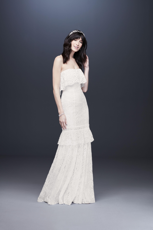tiered straight across lace wedding dress davids bridal galina Spring 2020