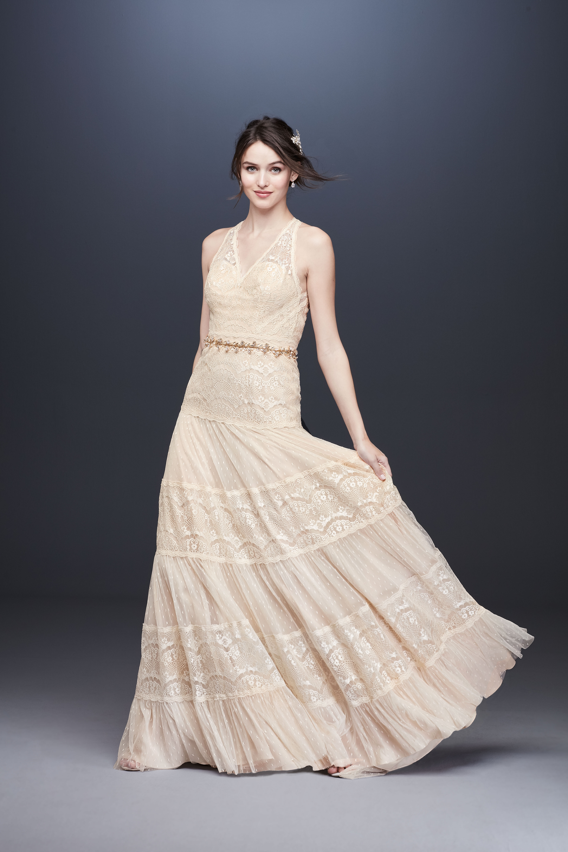 cream lace vneck wedding dress davids bridal galina Spring 2020