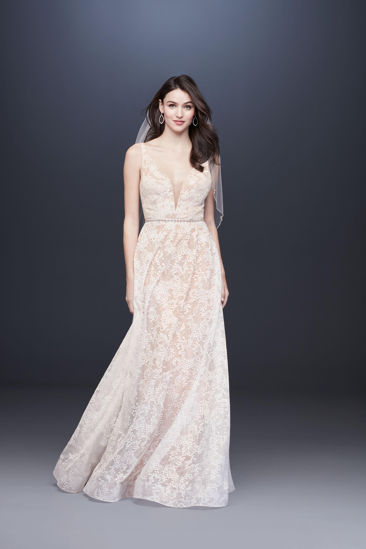vneck sheath jewel belt wedding dress davids bridal galina Spring 2020