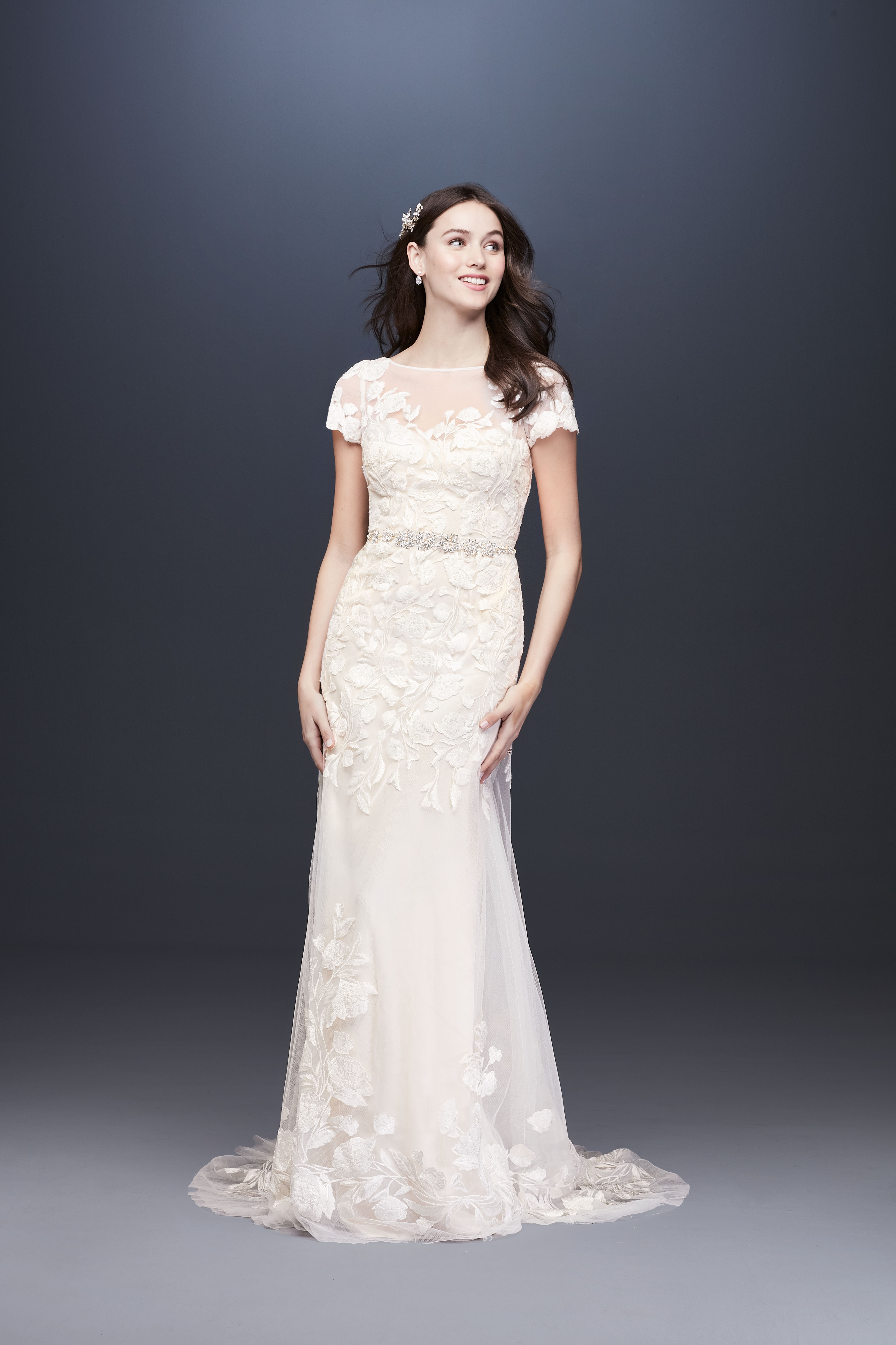Illusion boat neck short sleeve a-line wedding dress Melissa Sweet Spring 2020
