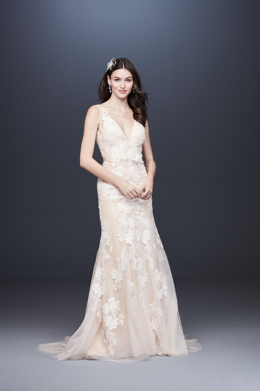 deep v-neck belted floral applique tulle semi mermaid wedding dress Melissa Sweet Spring 2020
