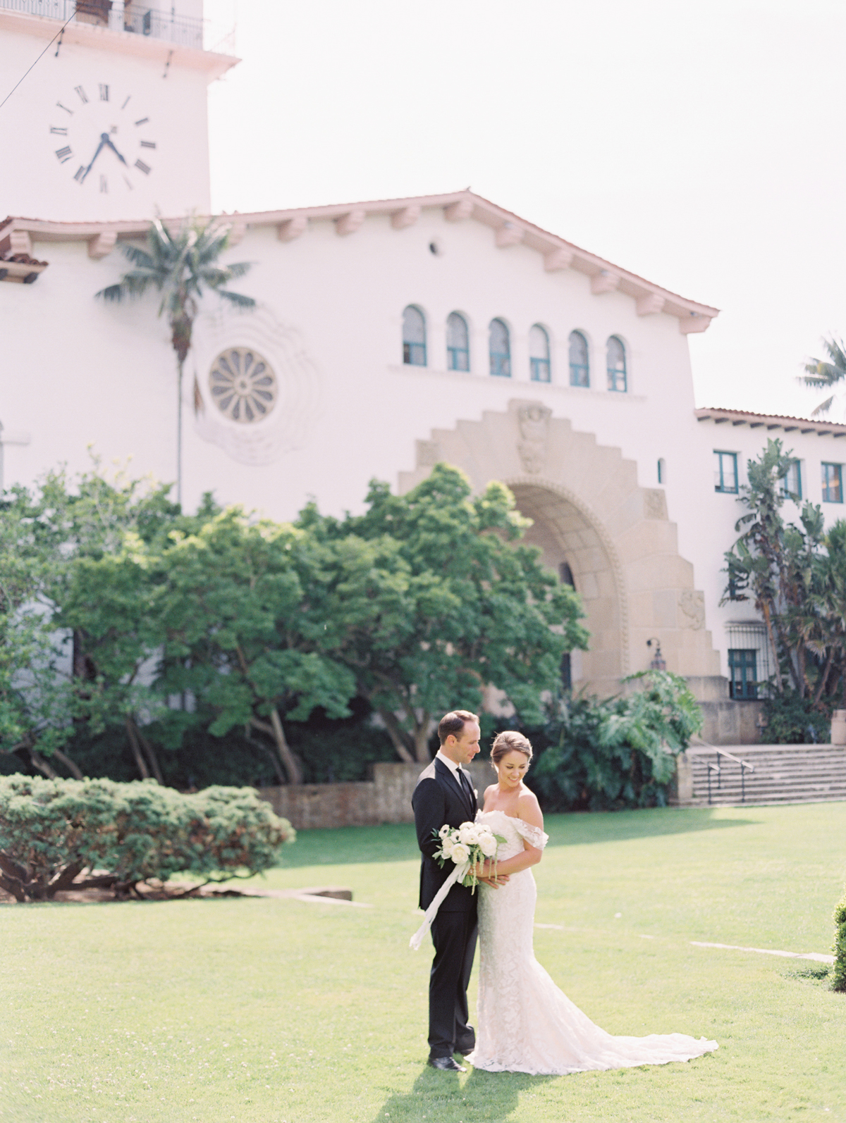 city hall wedding bride and groom on lawn outside of santa barbara county courthouse