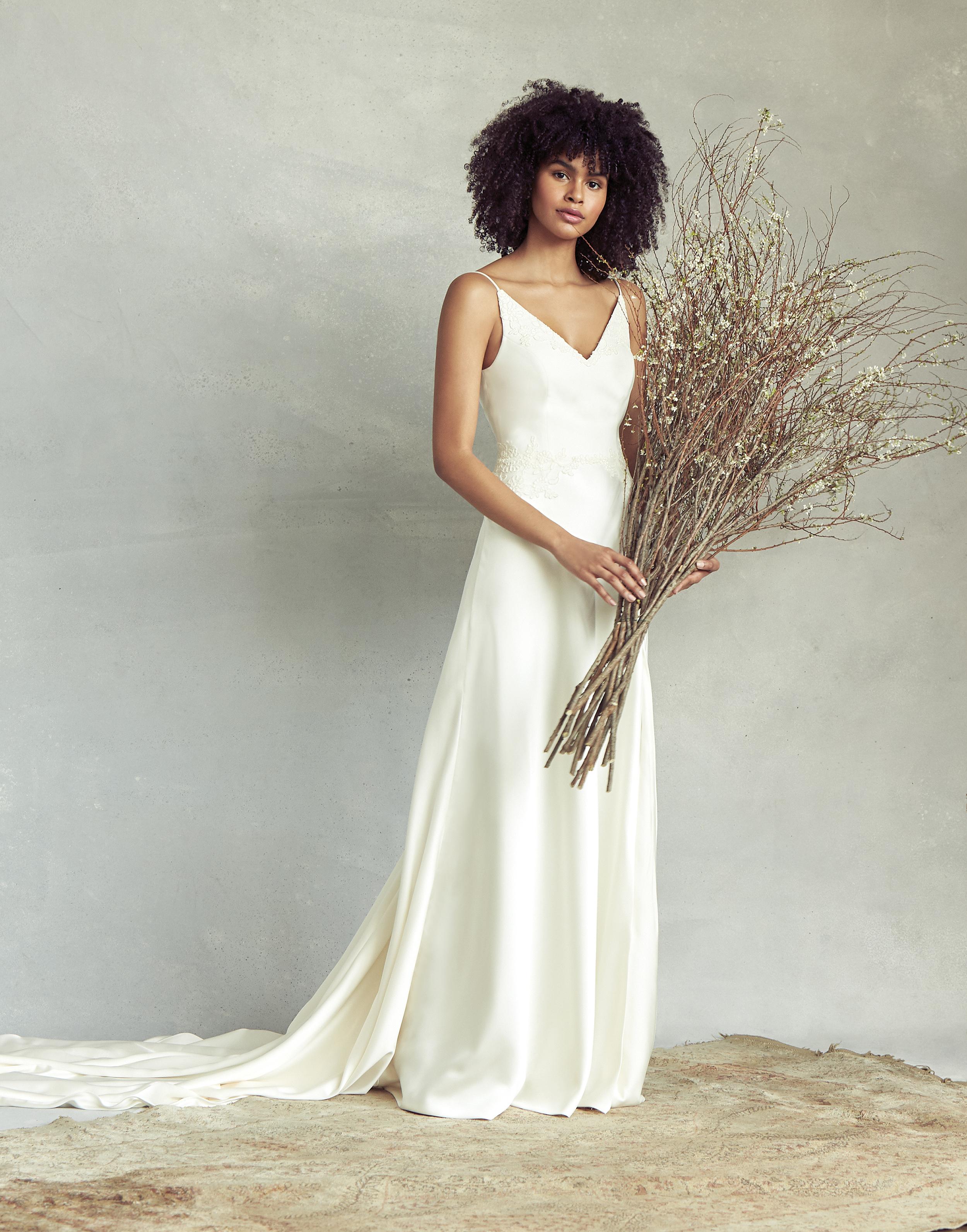 savannah miller spaghetti strap v-neck wedding dress spring 2020