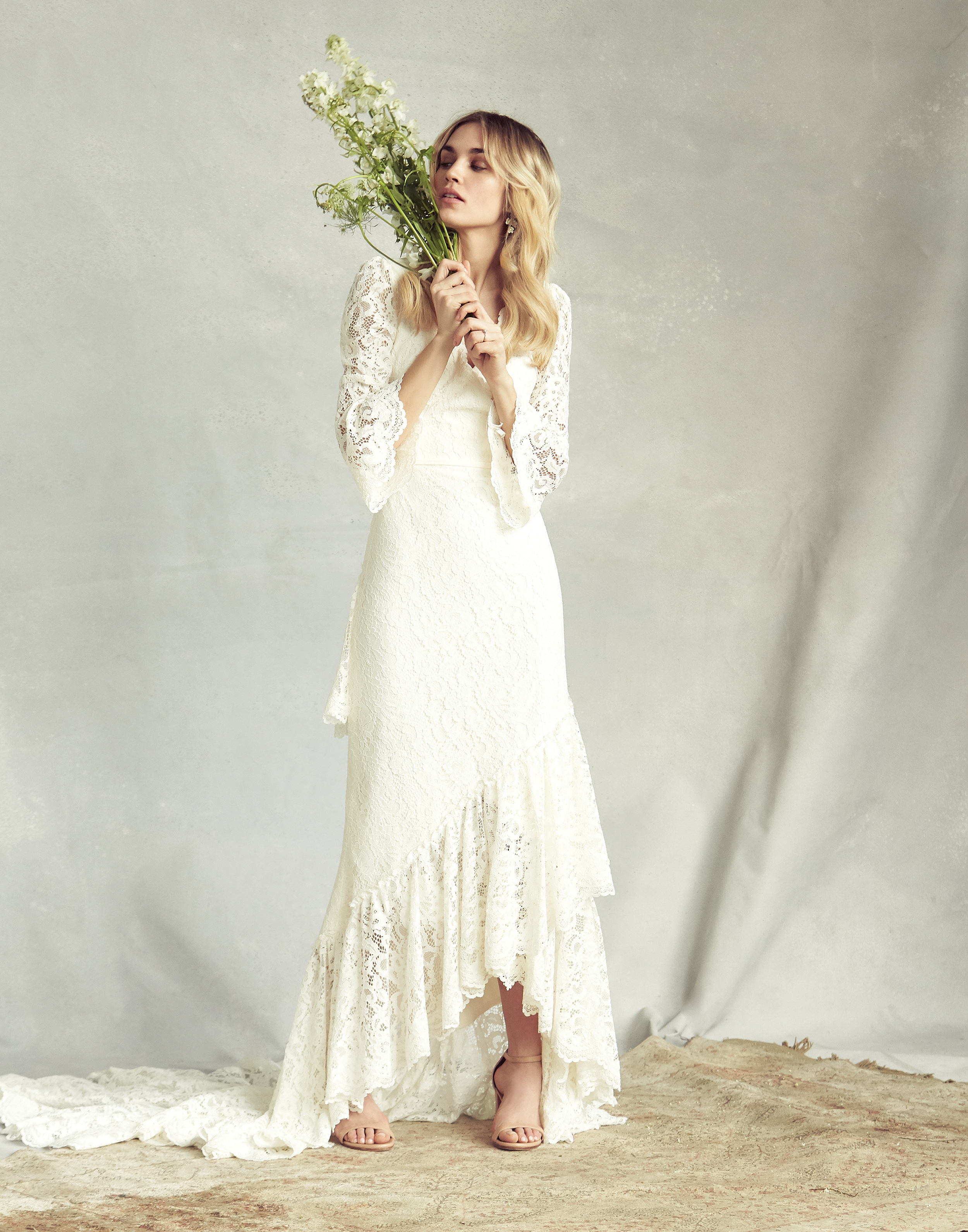savannah miller lace three-quarter length sleeves wedding dress spring 2020
