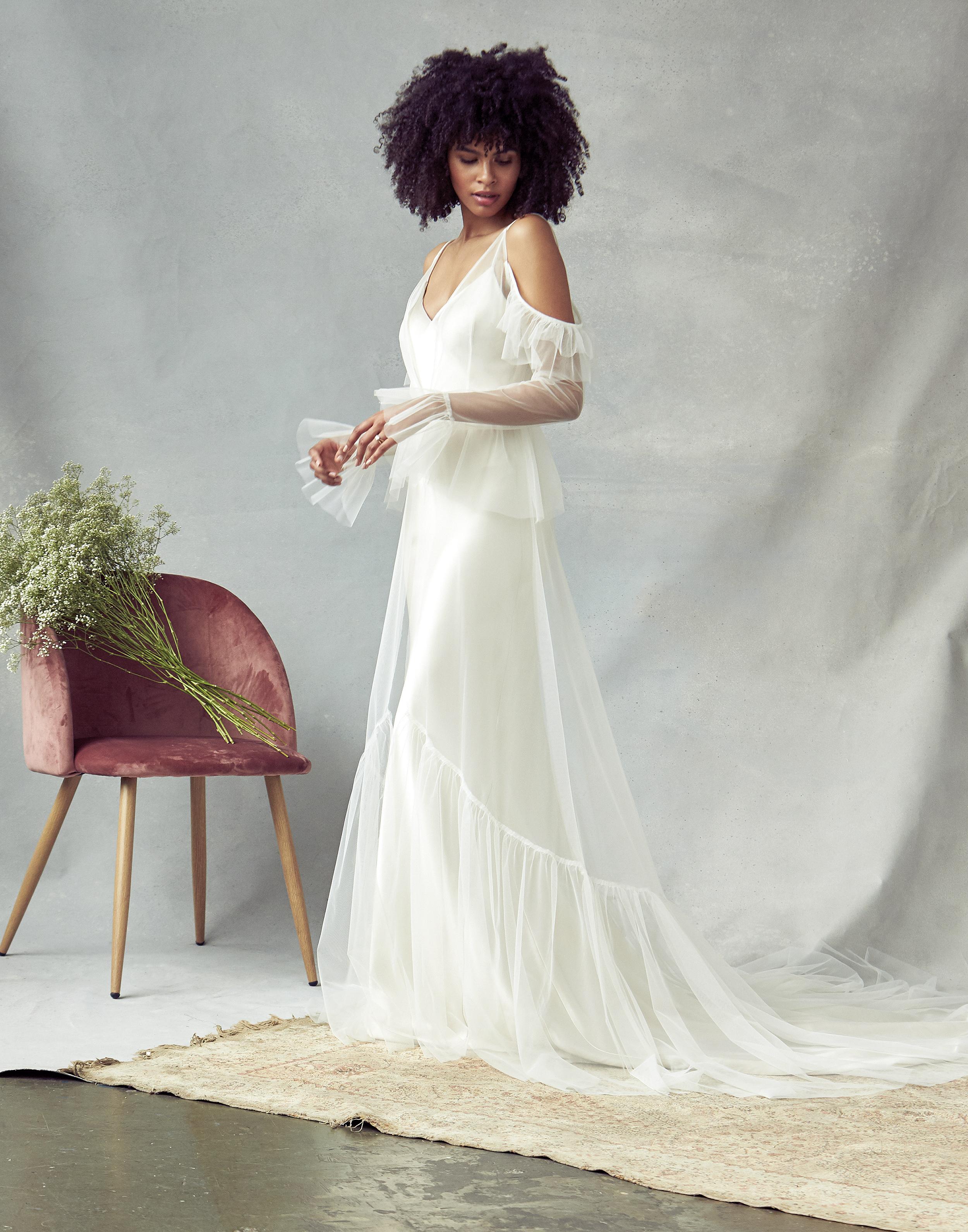 savannah miller tulle off the shoulder wedding dress spring 2020