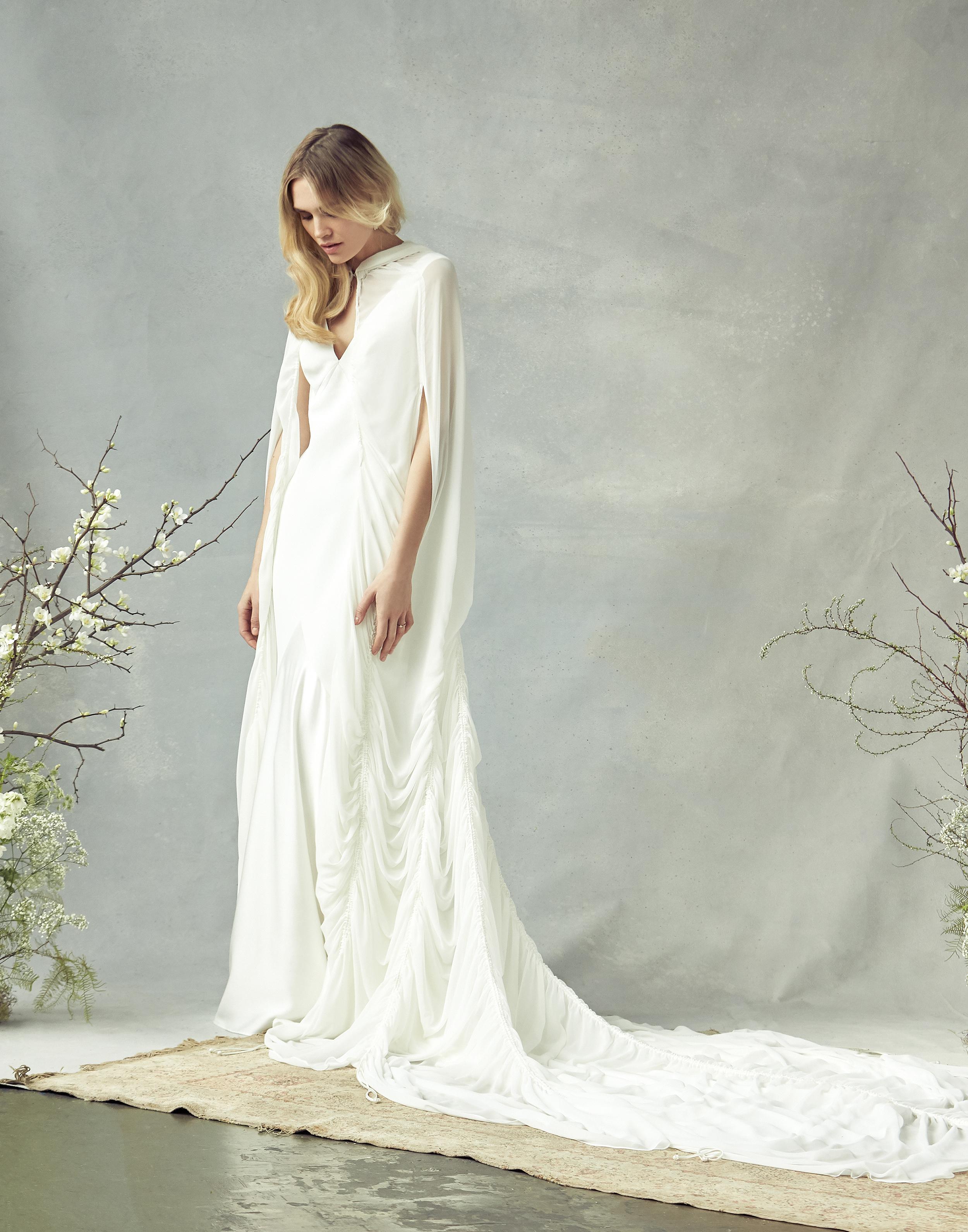 savannah miller v-neck with cape wedding dress spring 2020