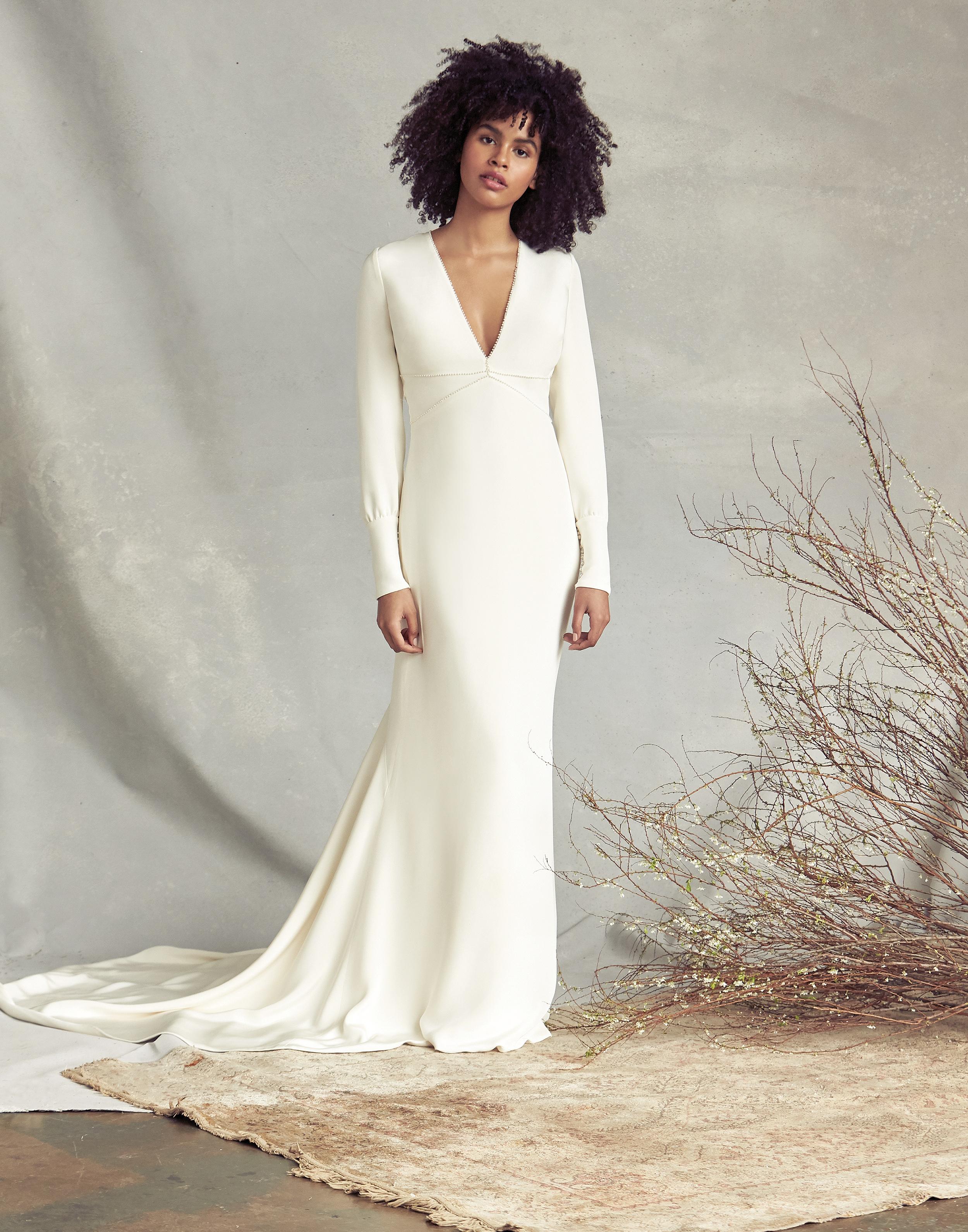 savannah miller v-neck long sleeve wedding dress spring 2020