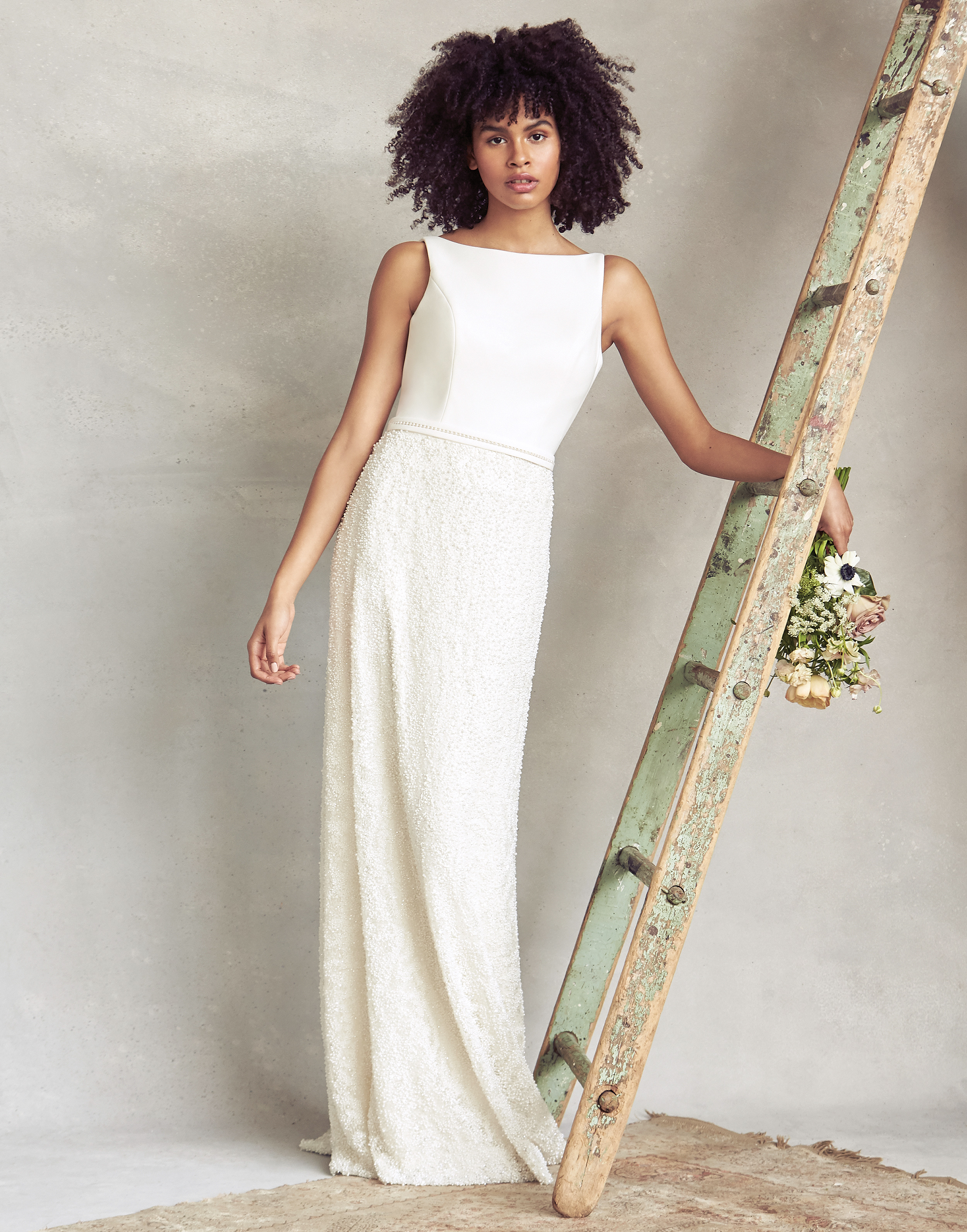 savannah miller high neck sheath wedding dress spring 2020