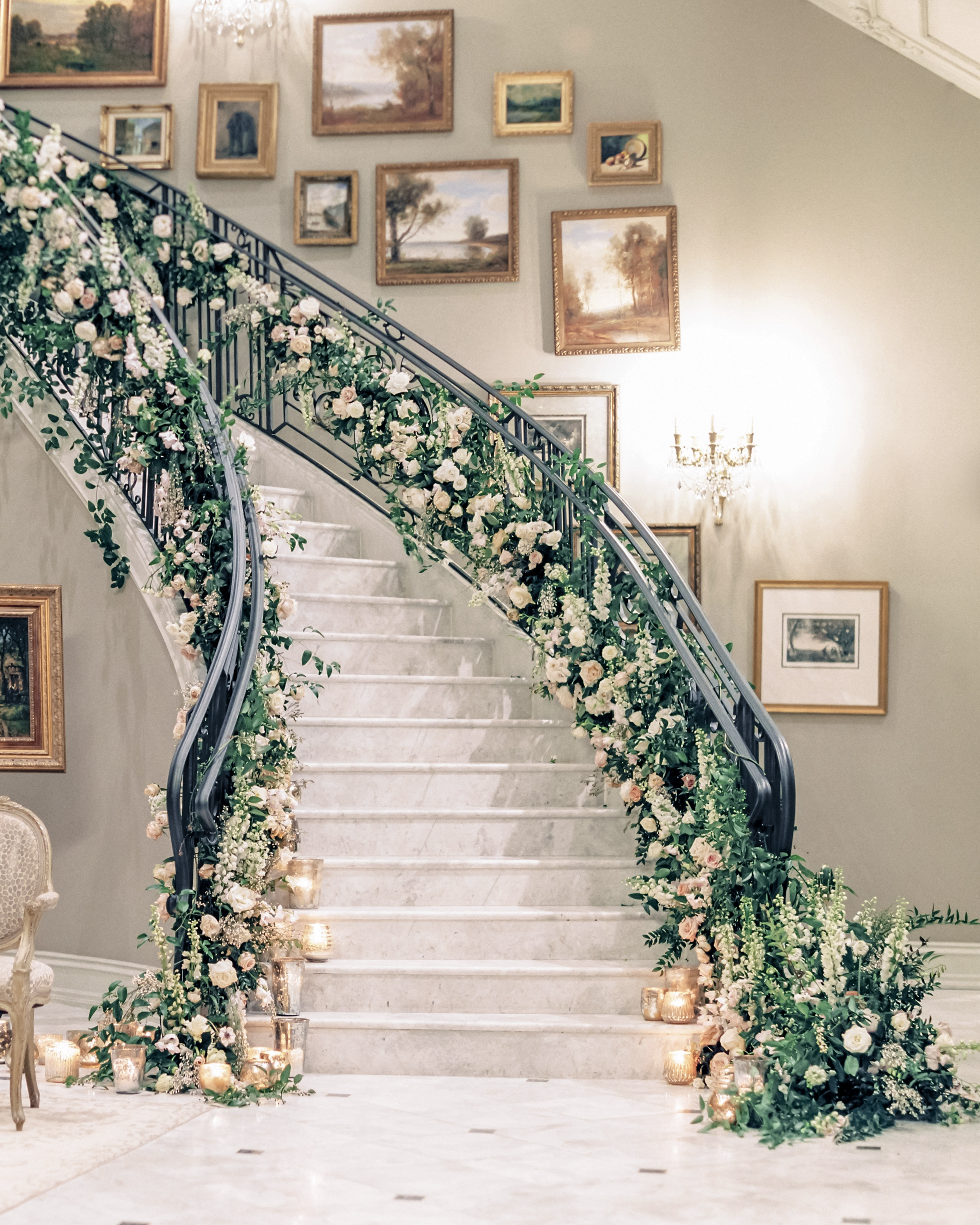 stair banister decor curving staircase floral greenery