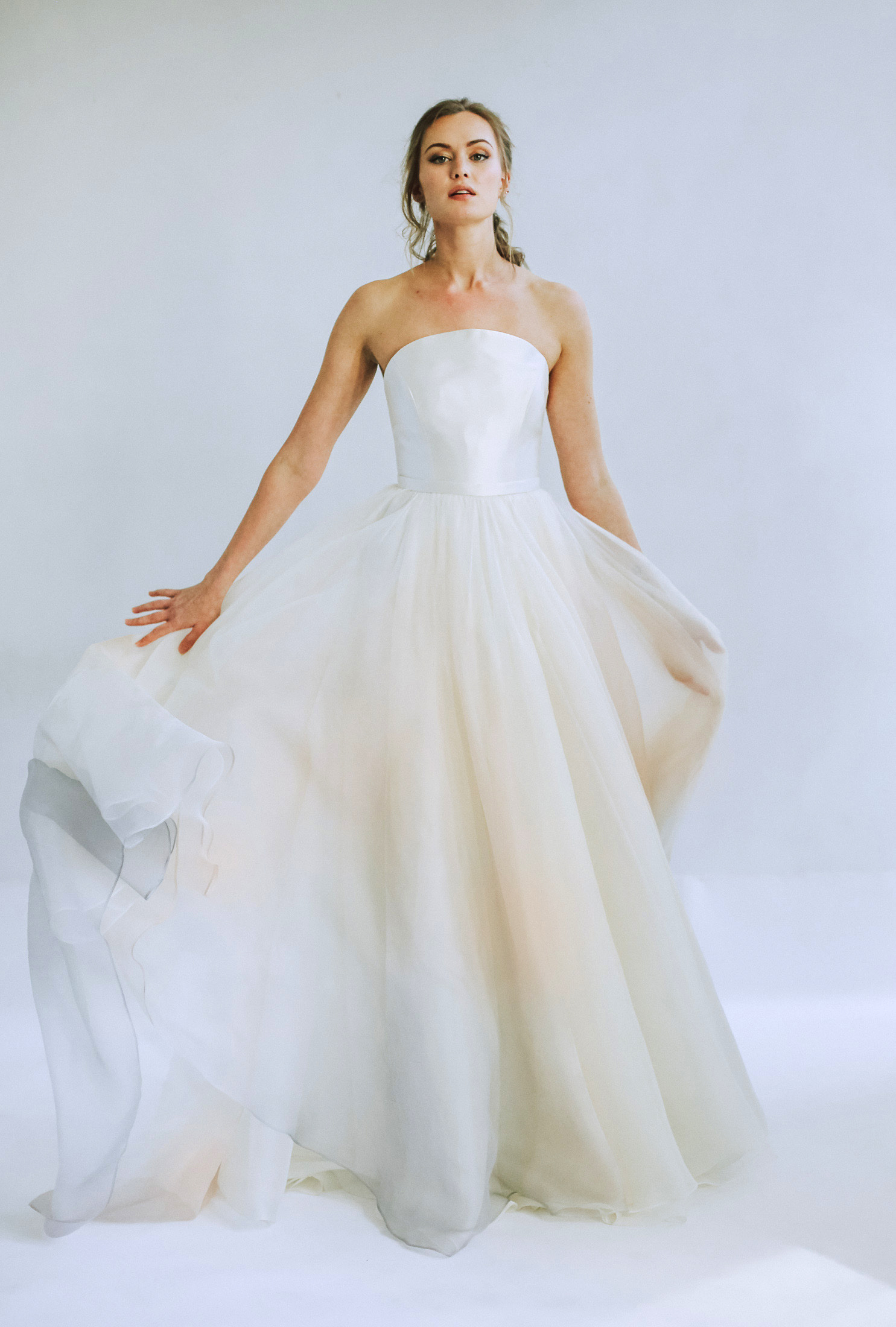 leanna marshall strapless sheer ball gown wedding dress spring 2020