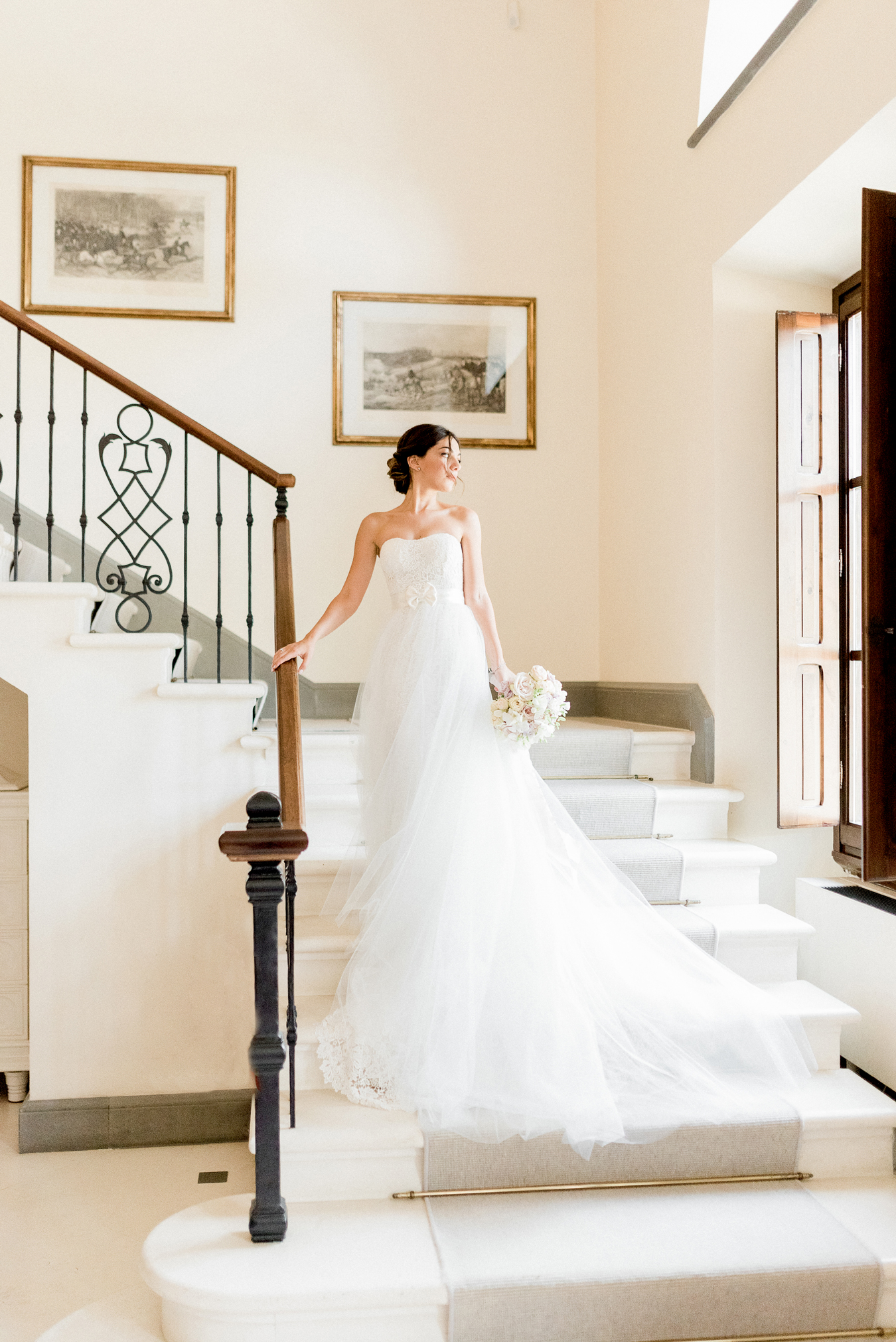 strapless, guipure lace wedding gown with train