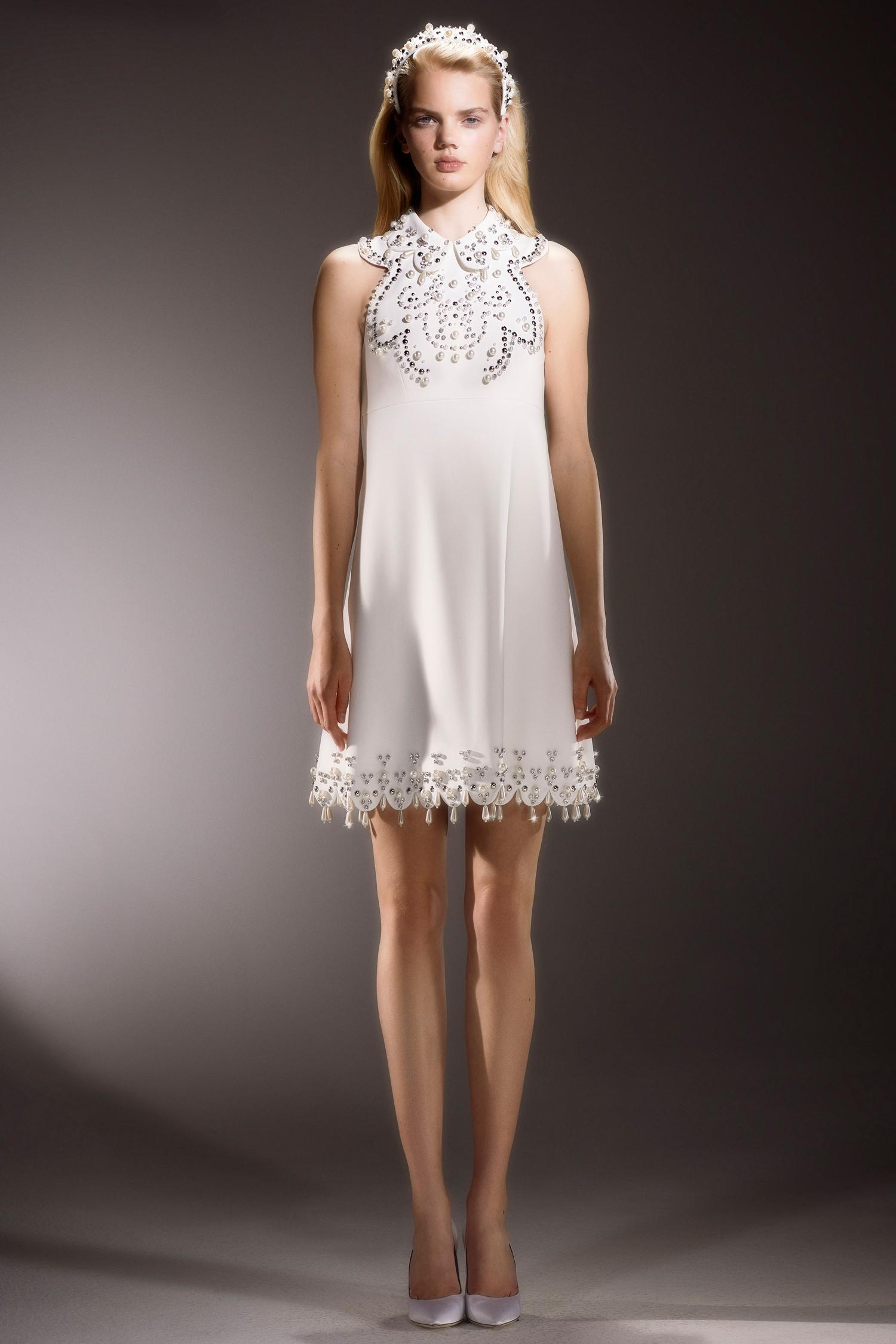 viktor and rolf short beaded halter wedding dress with collar spring 2020