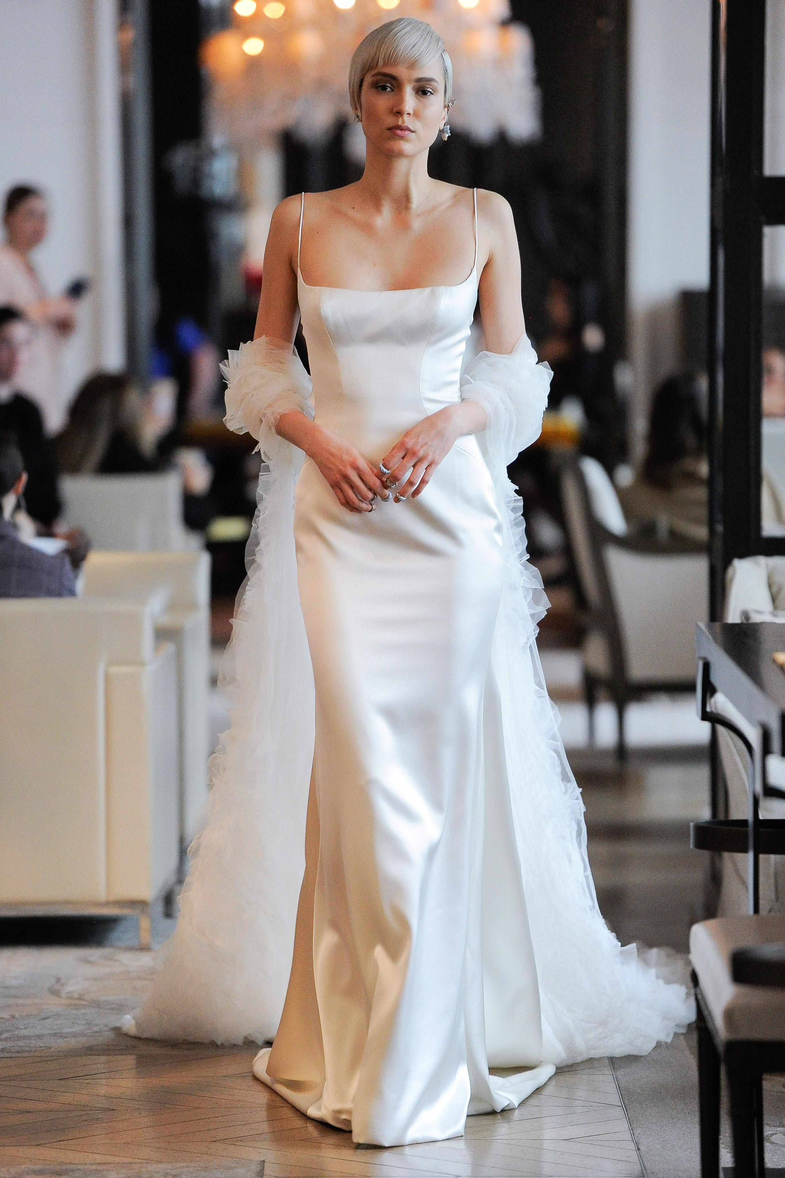 spaghetti strap straight across sheath wedding dress Ines Di Santo Spring 2020