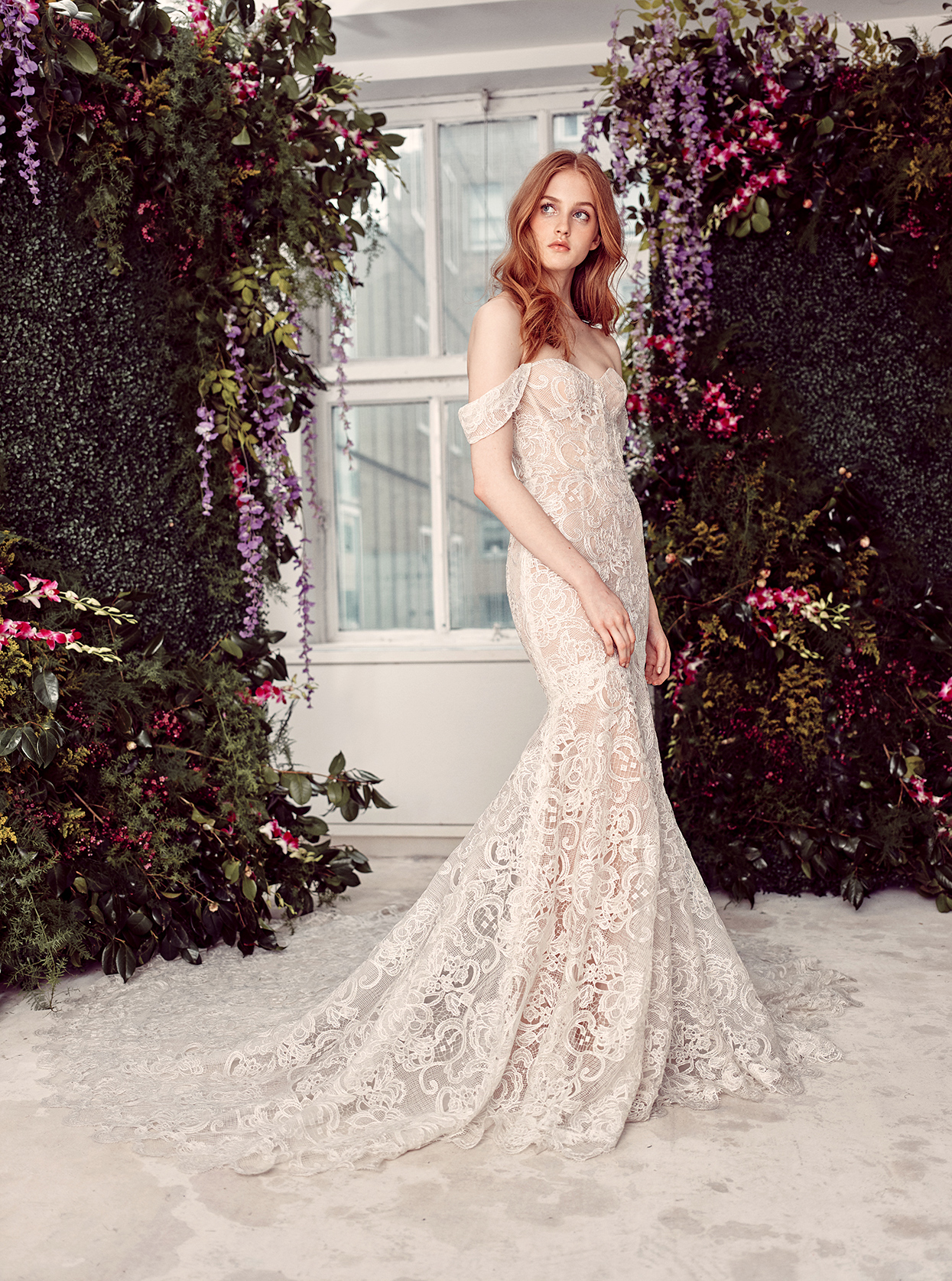 alyne by rita vinieris lace draped off-the-shoulder wedding dress spring 2020