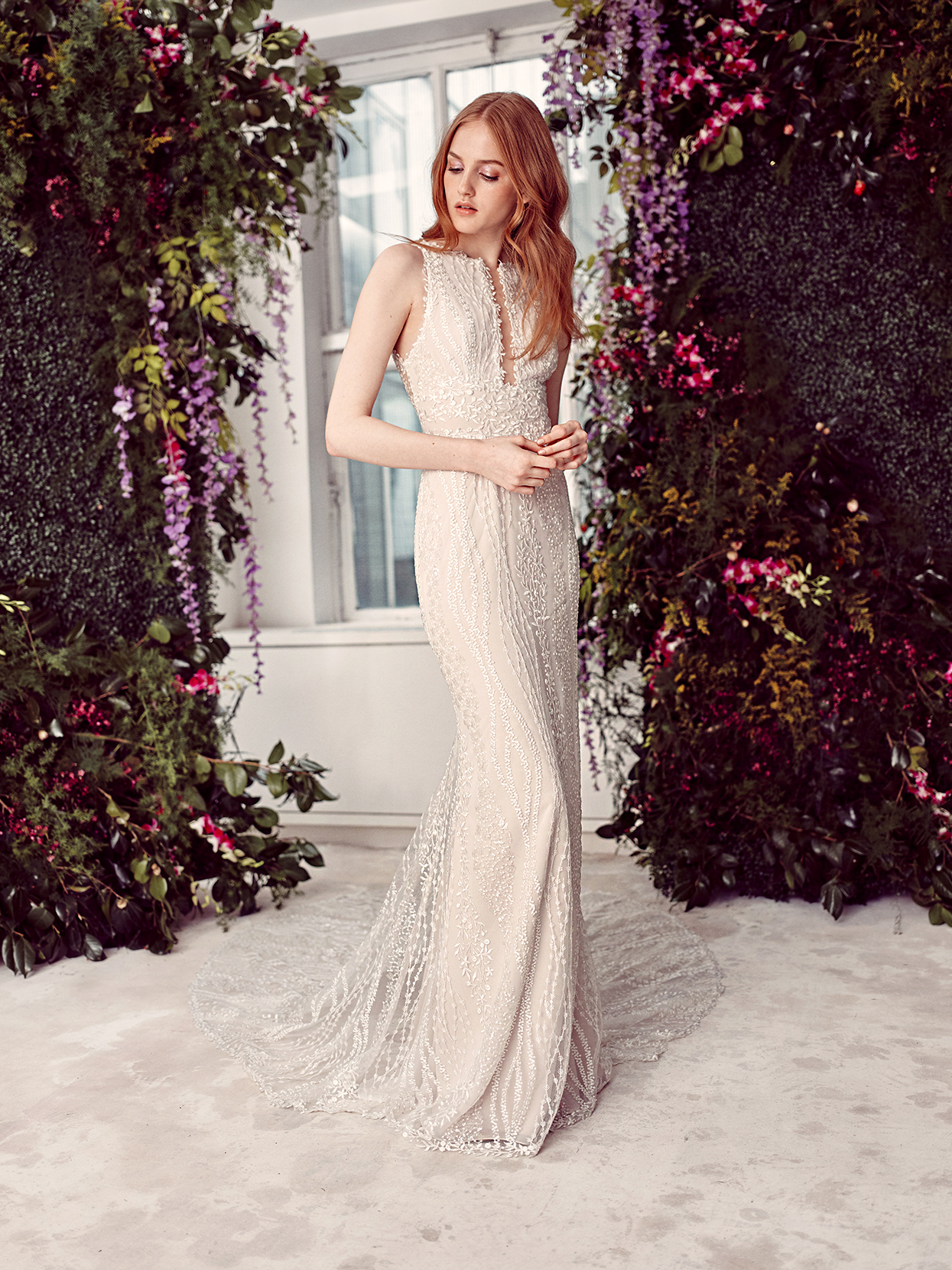 alyne by rita vinieris champagne beaded high-neck wedding dress spring 2020