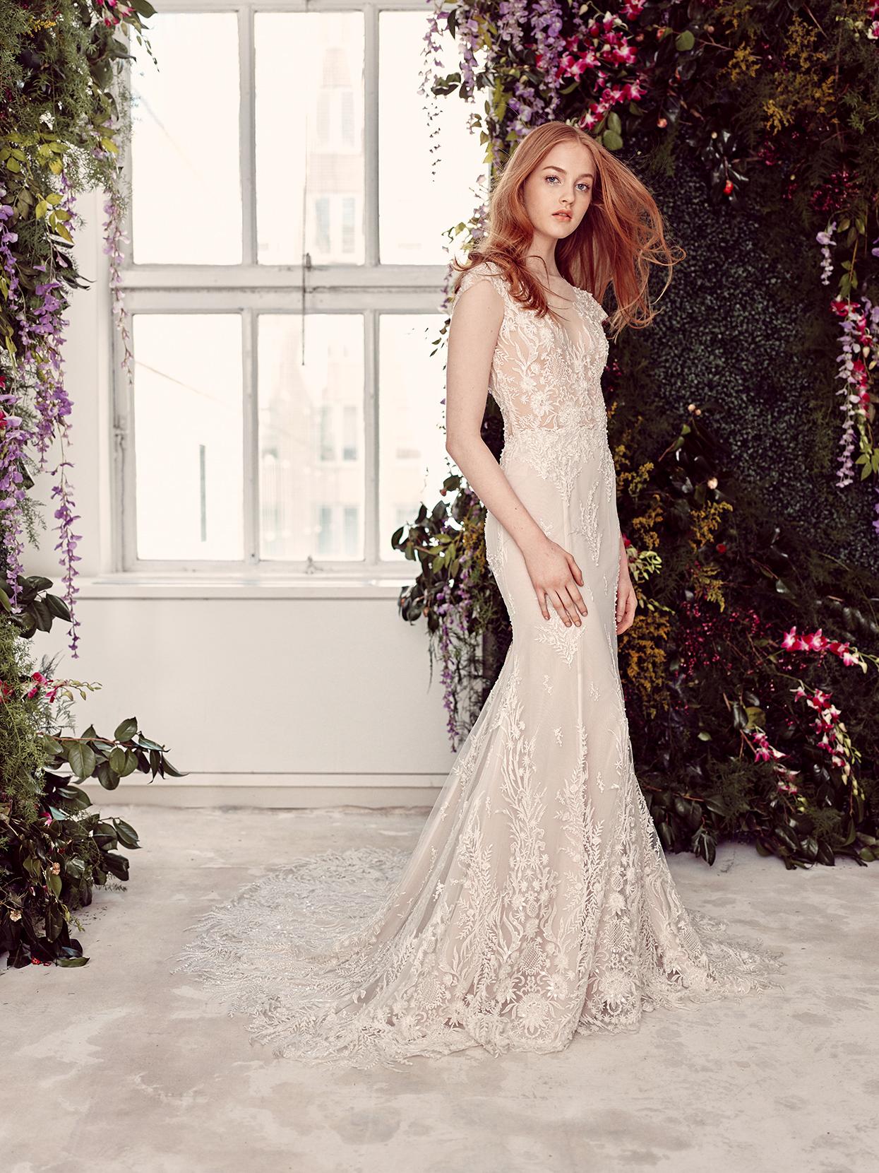 alyne by rita vinieris lace cap-sleeved trumpet wedding dress spring 2020