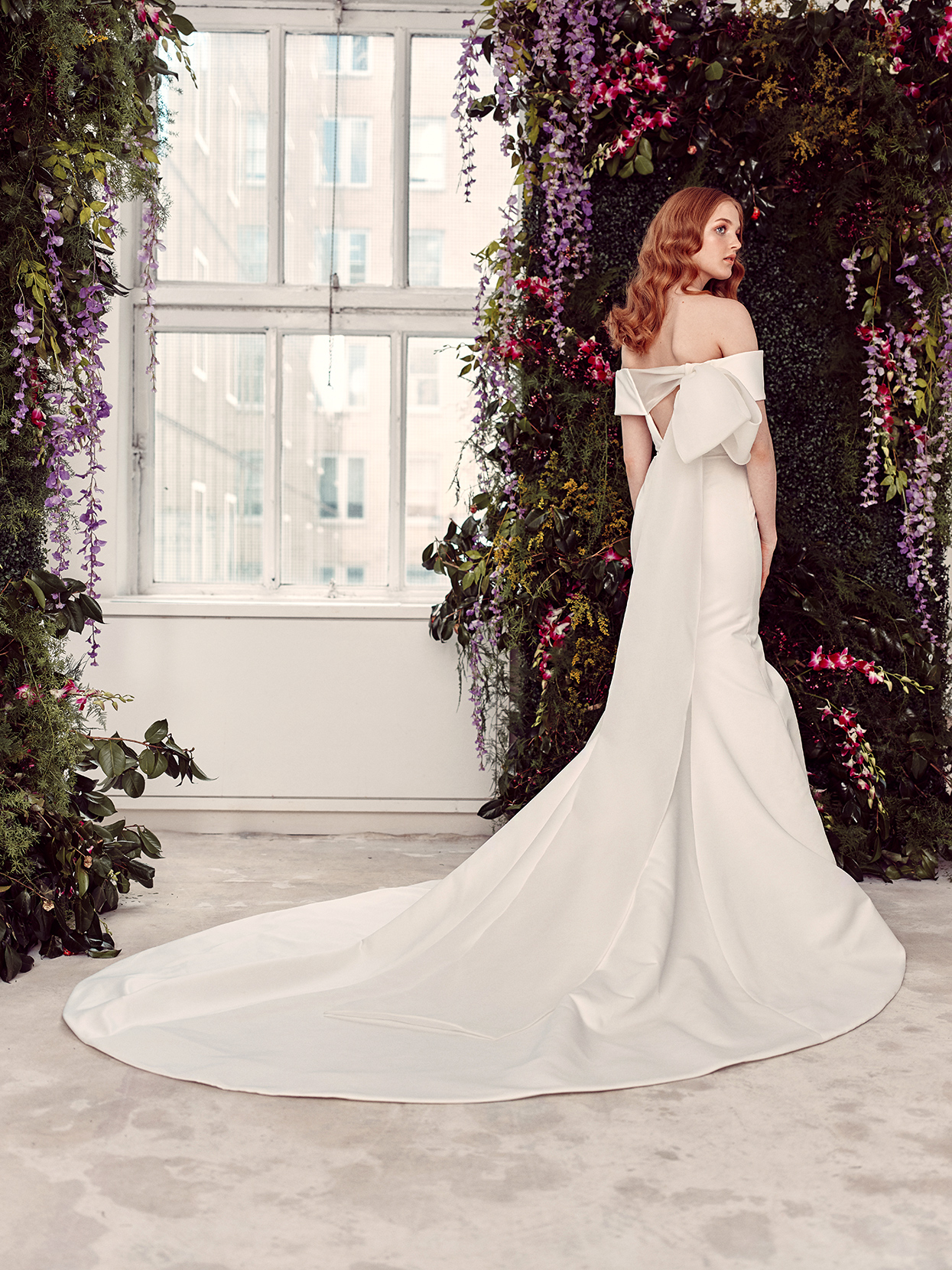 alyne by rita vinieris off-the-shoulder back bow wedding dress spring 2020