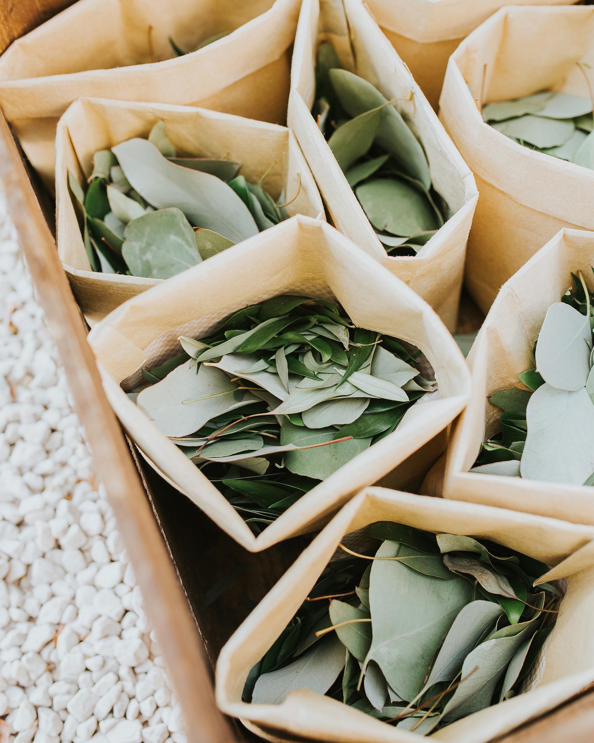 eucalyptus leaves individual bags wedding toss