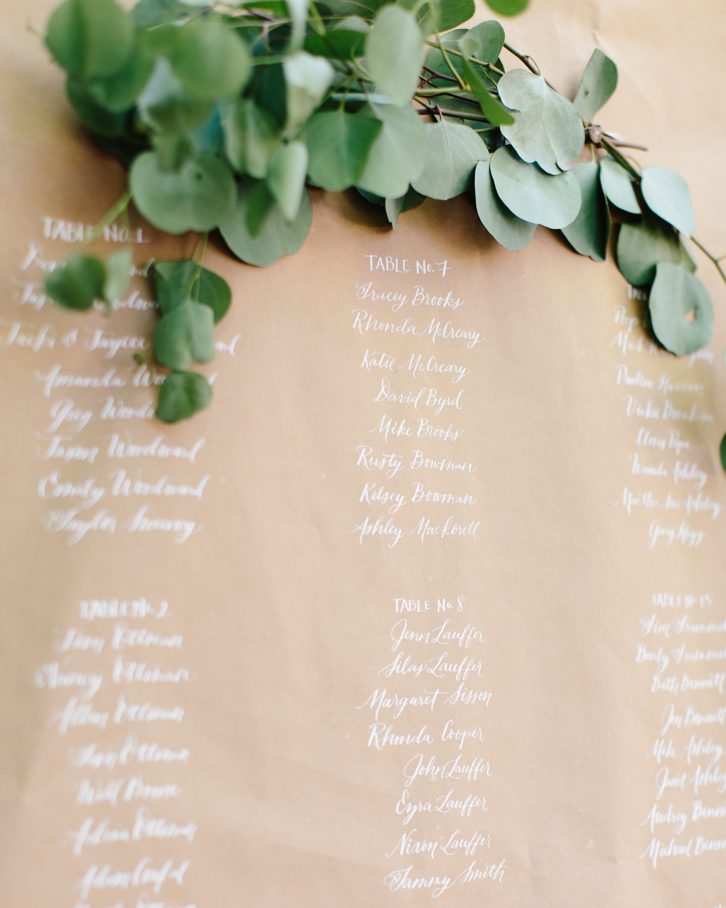 eucalyptus branch above listed seating chart