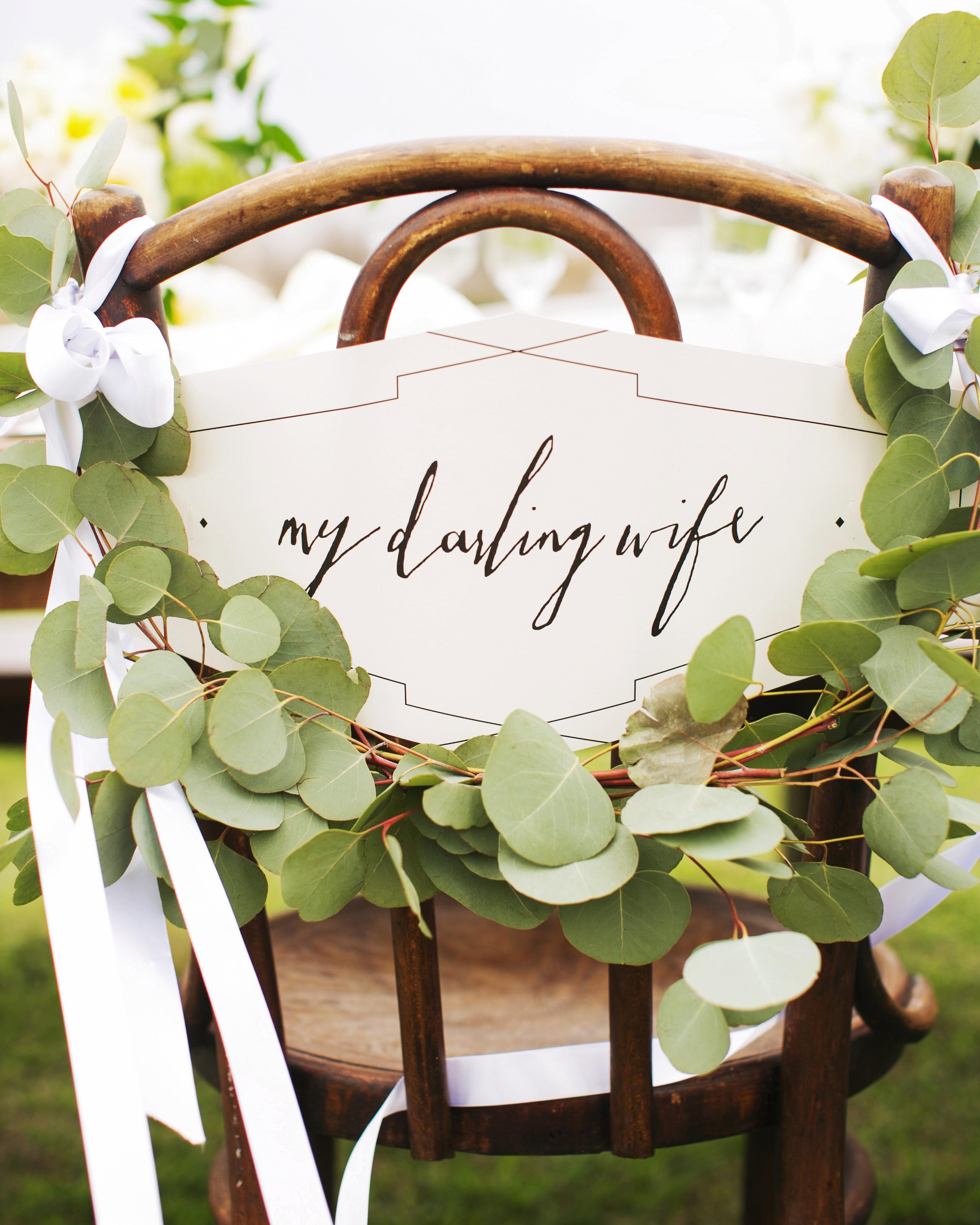 eucalyptus wrap wood chair darling wife sign