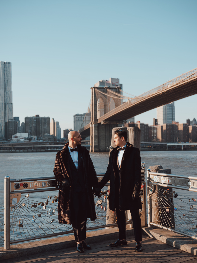 These Grooms Wore Matching Midnight Blue Suits to Their Winter Wedding in Brooklyn