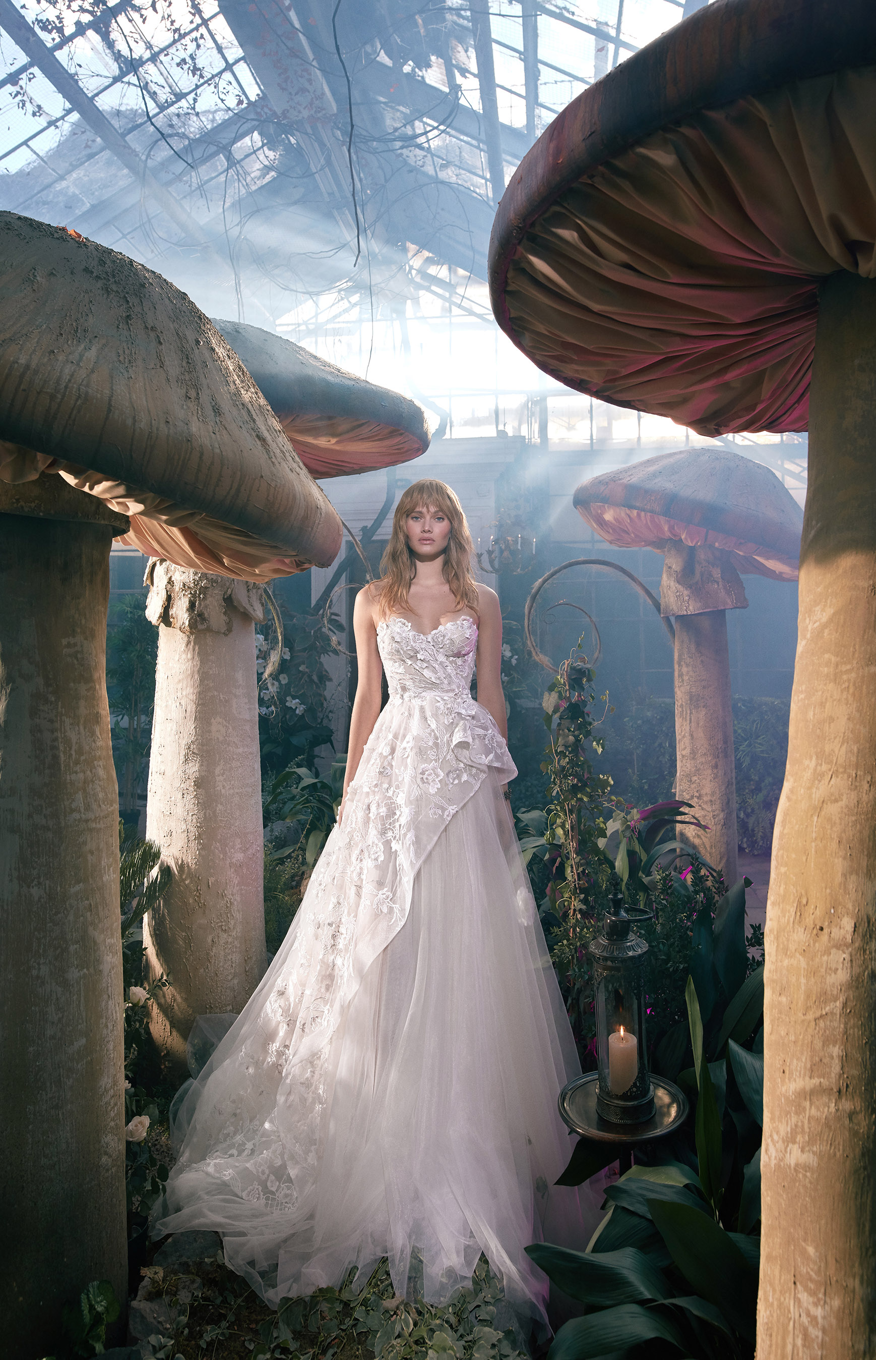strapless sweetheart lace scalloped edge tulle skirt a-line wedding dress Gala by Galia Lahav Spring 2020