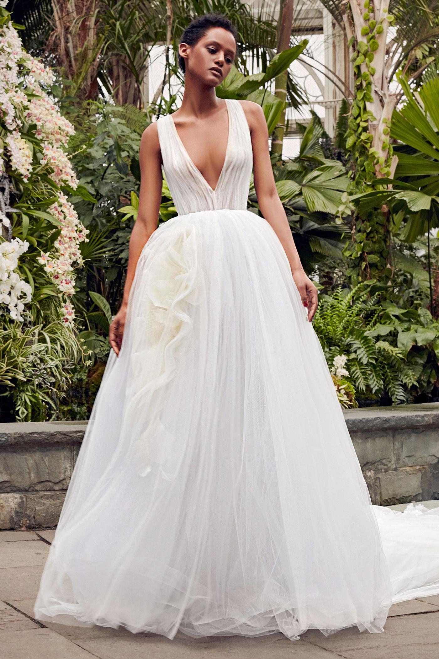 vera wang plunging neck ball gown wedding dress spring 2020