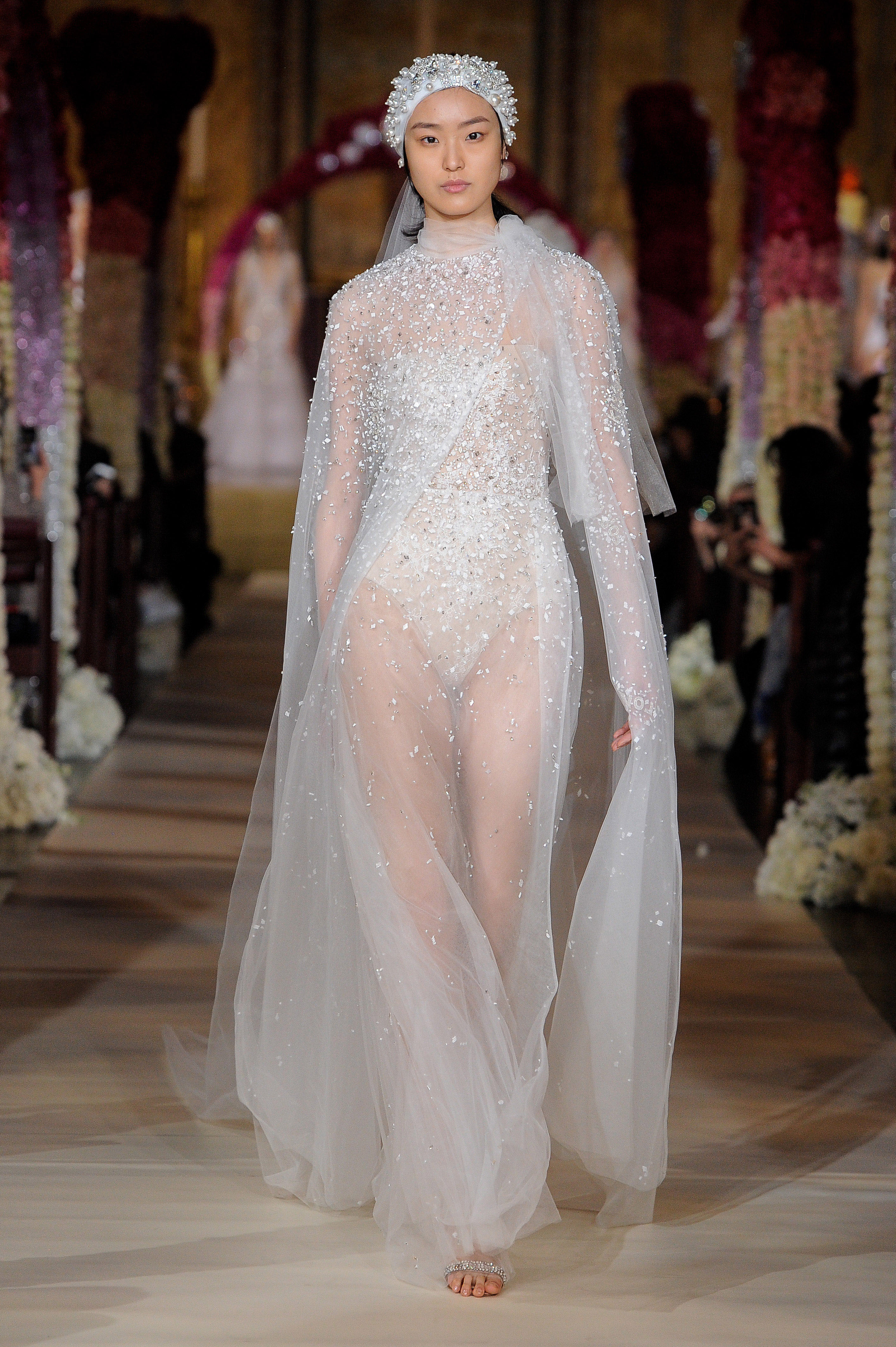 beaded sheer cape and sheath wedding dress Reem Acra Spring 2020