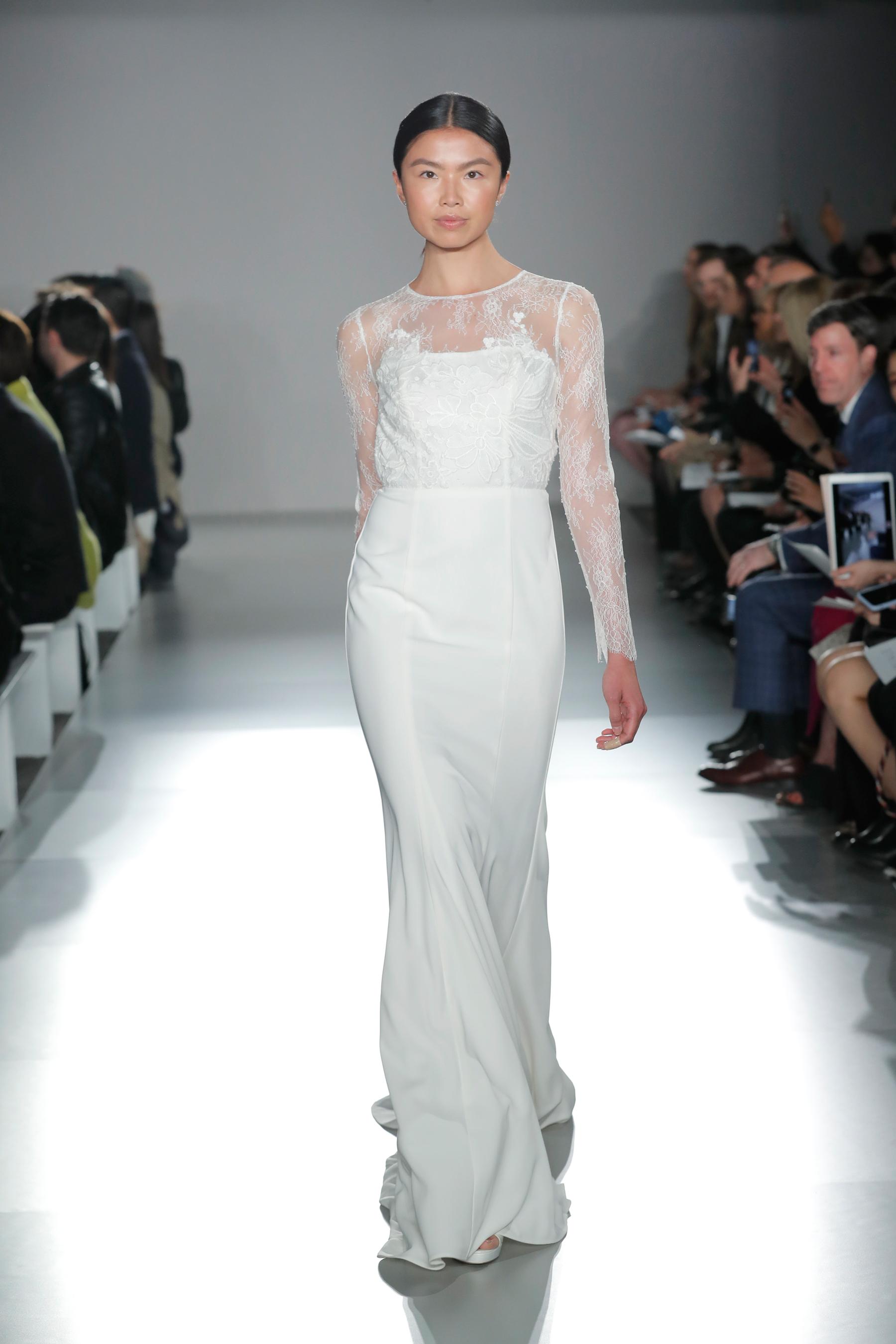 nouvelle amsale lace long sleeve sheath wedding dress spring 2020