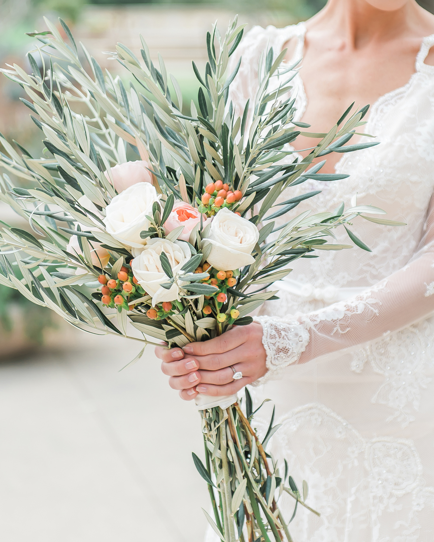 muted leaves and garden roses long stemmed wedding bouquet