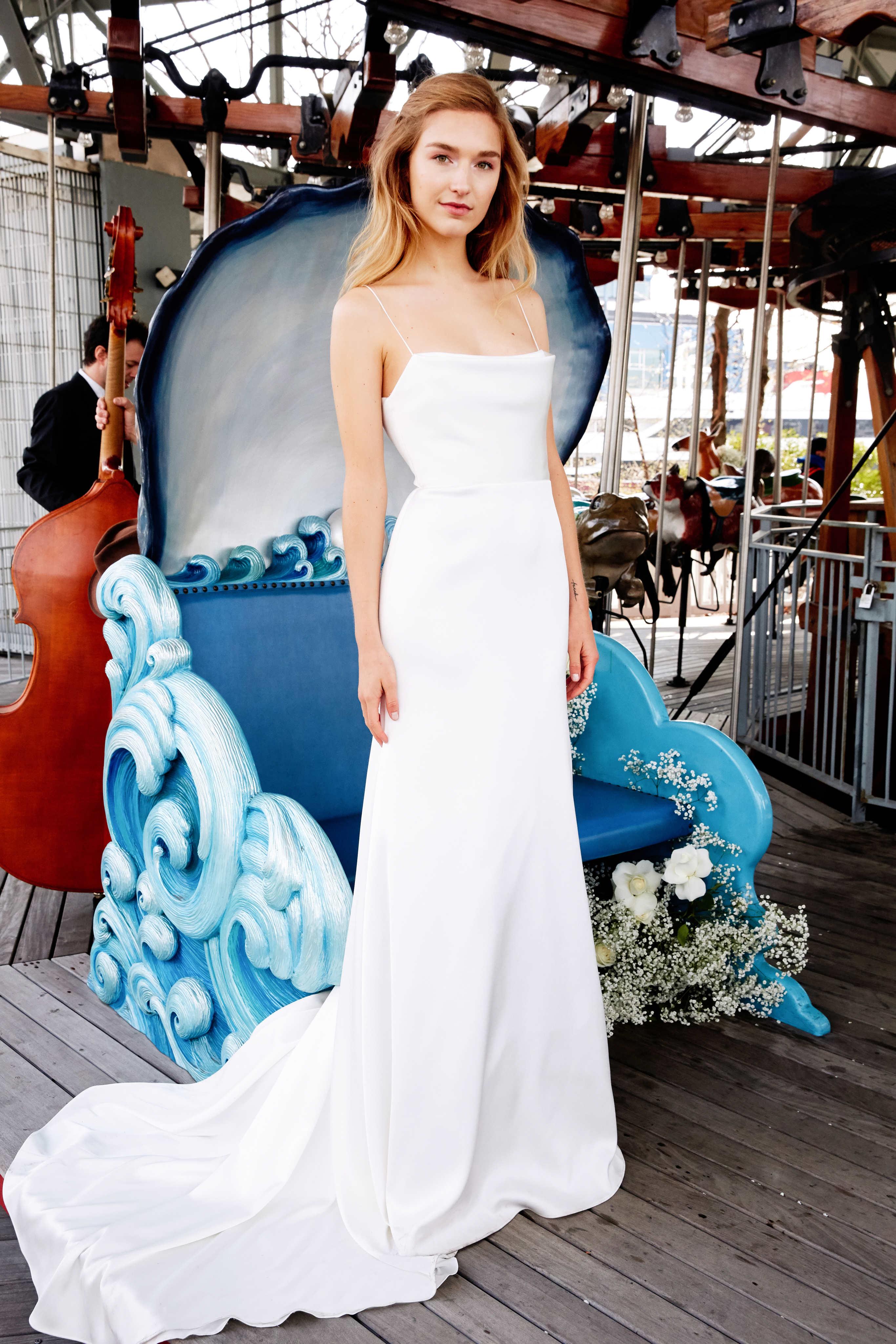 lela rose wedding dress bridal market spring 2020 sheath spaghetti strap