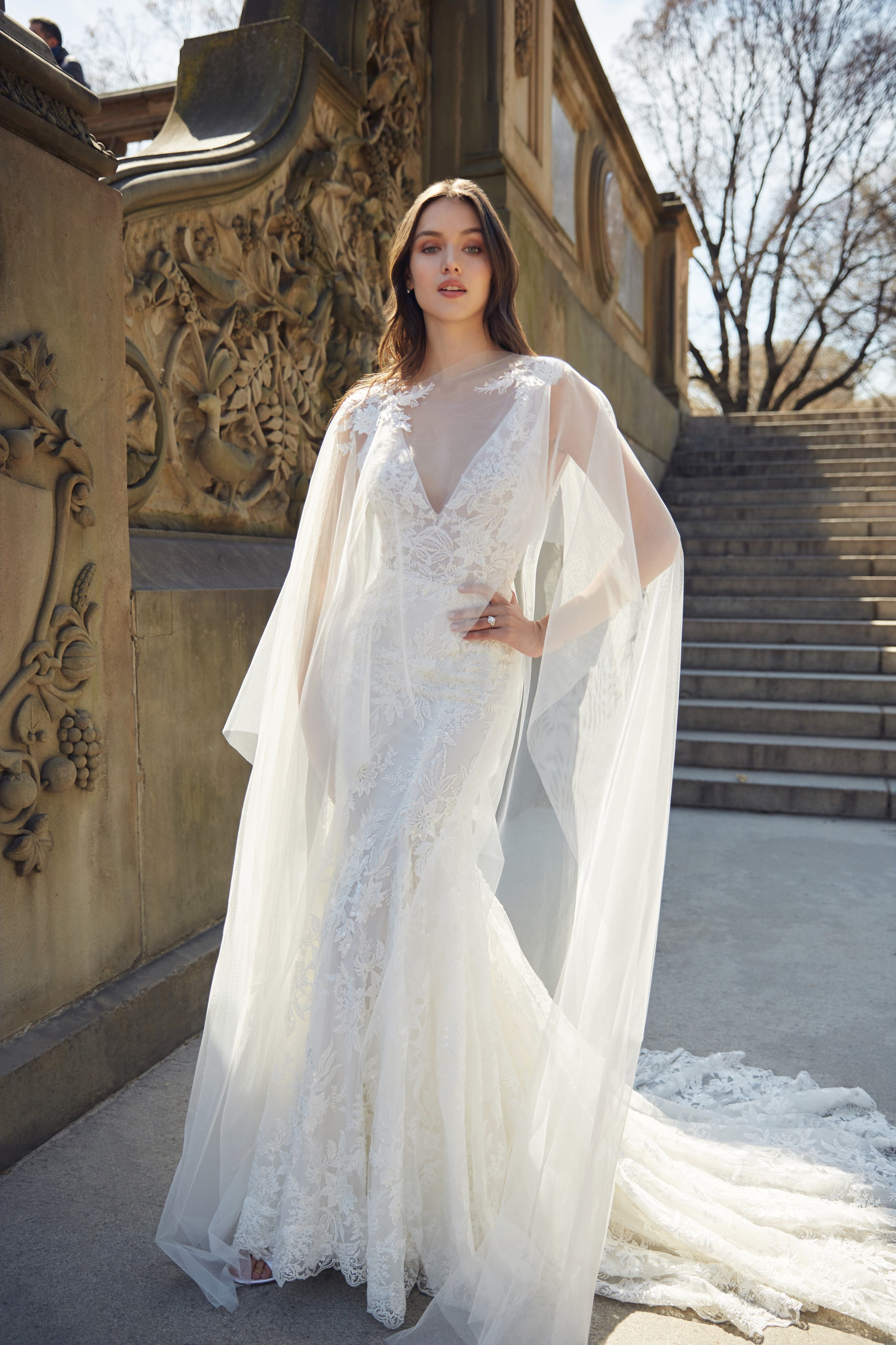 monique lhuillier bliss deep v neck trumpet sheer cape wedding dress spring 2020