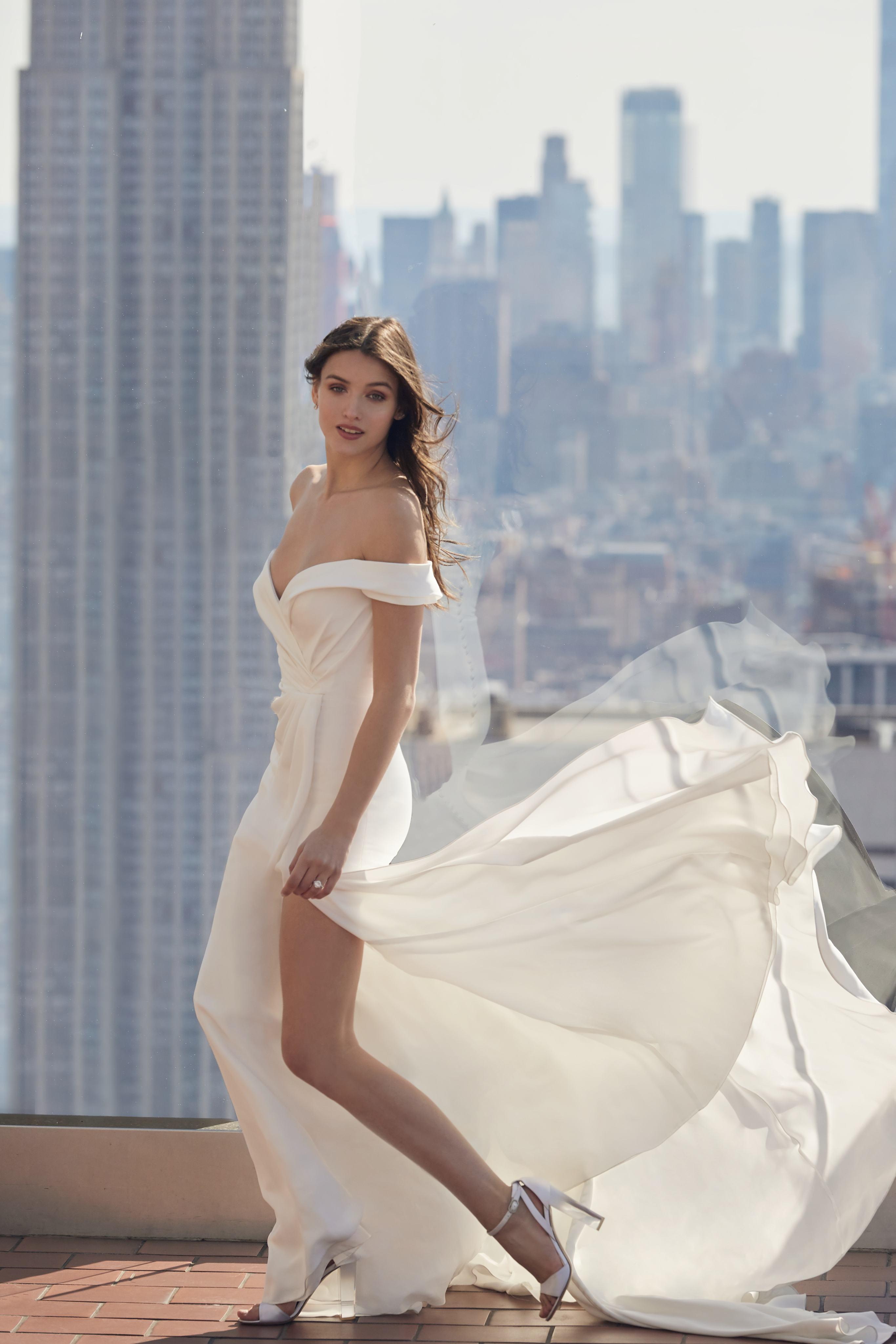 monique lhuillier bliss off the shoulder high slit wedding dress spring 2020