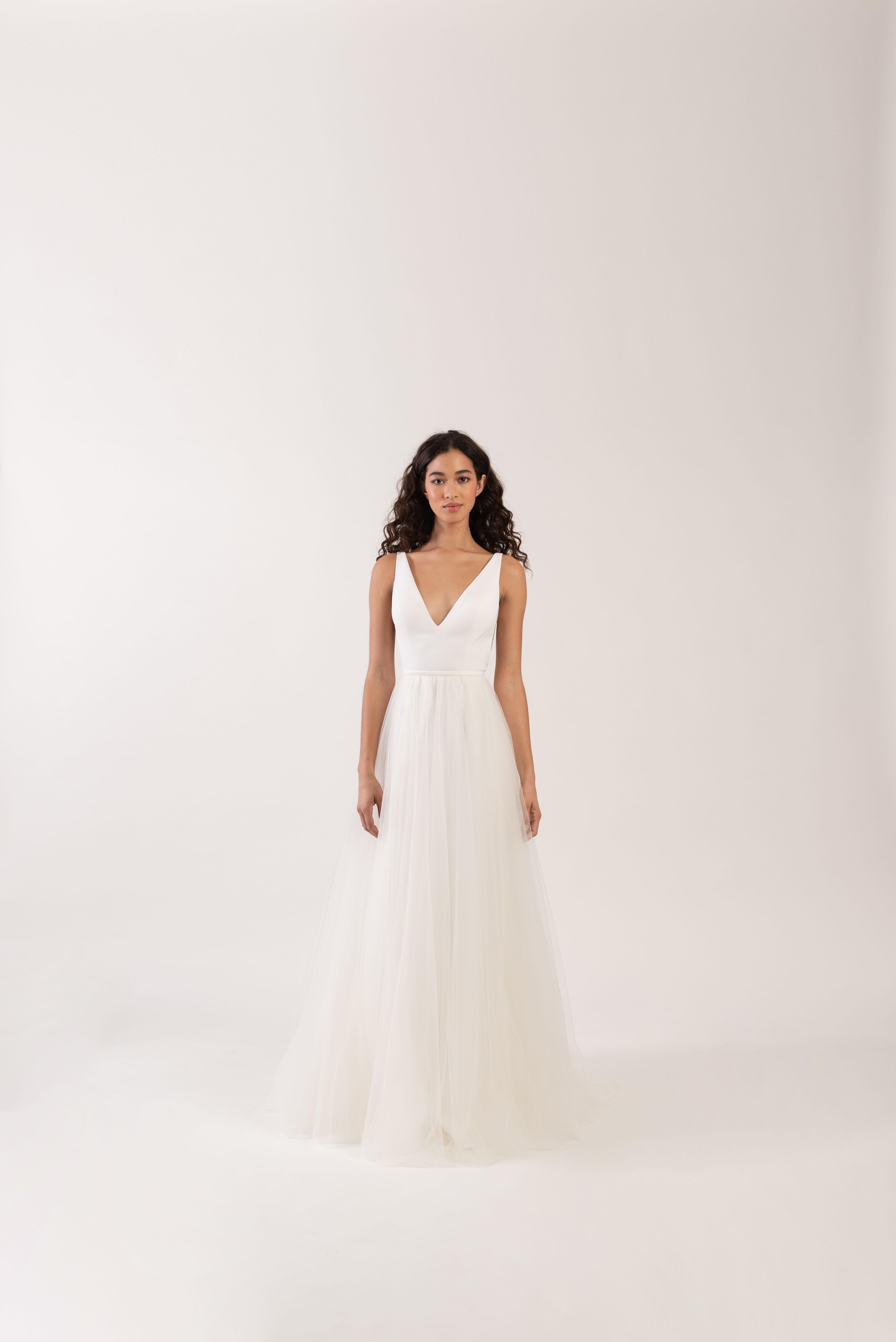 wide spaghetti strap v-neck tulle skirt a-line wedding dress Jenny by Jenny Yoo Spring 2020