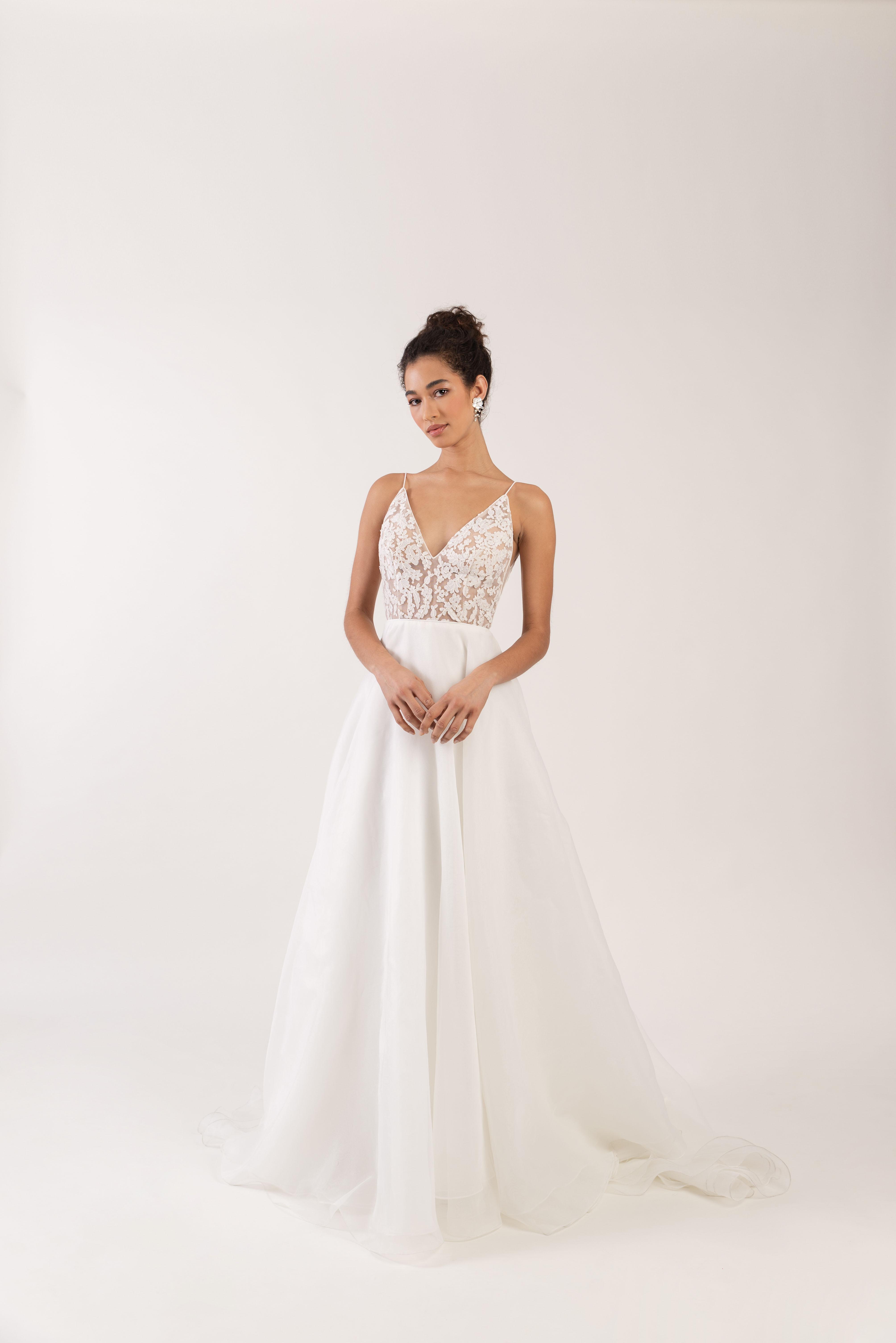 spaghetti strap deep v-neck sheer lace bodice a-line wedding dress Jenny by Jenny Yoo Spring 2020