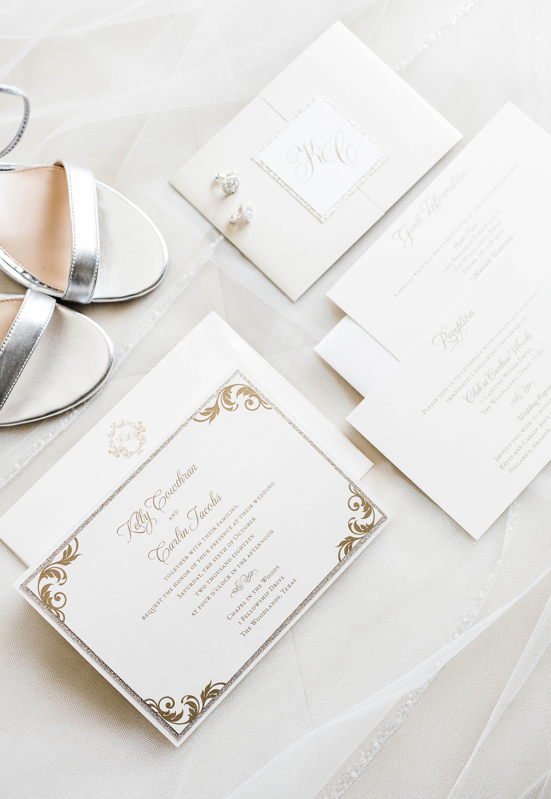 ivory wedding stationary suit with gold glitter border design and gold calligraphy