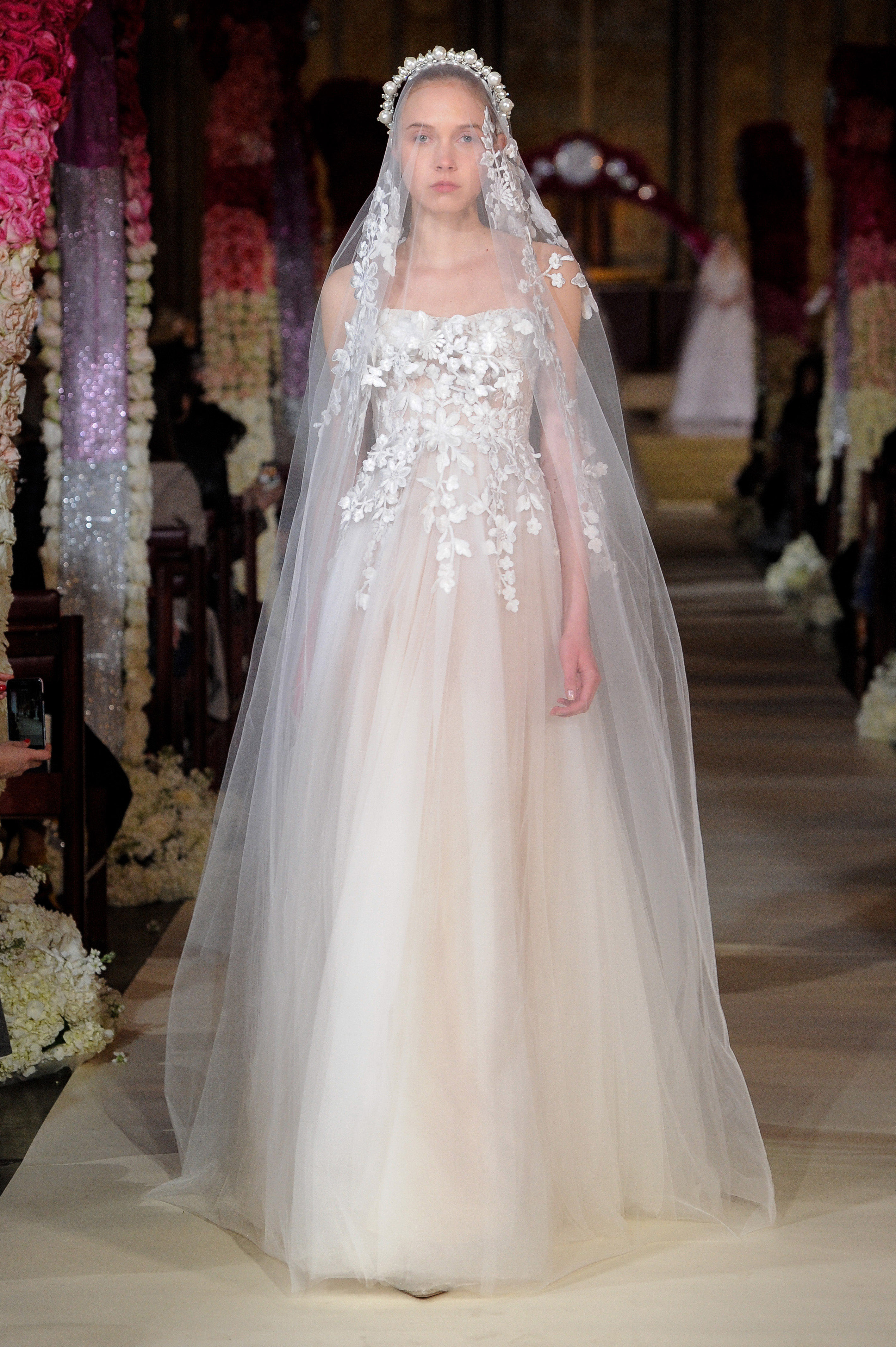 straight across strapless tulle embellished lace a-line wedding dress Reem Acra Spring 2020