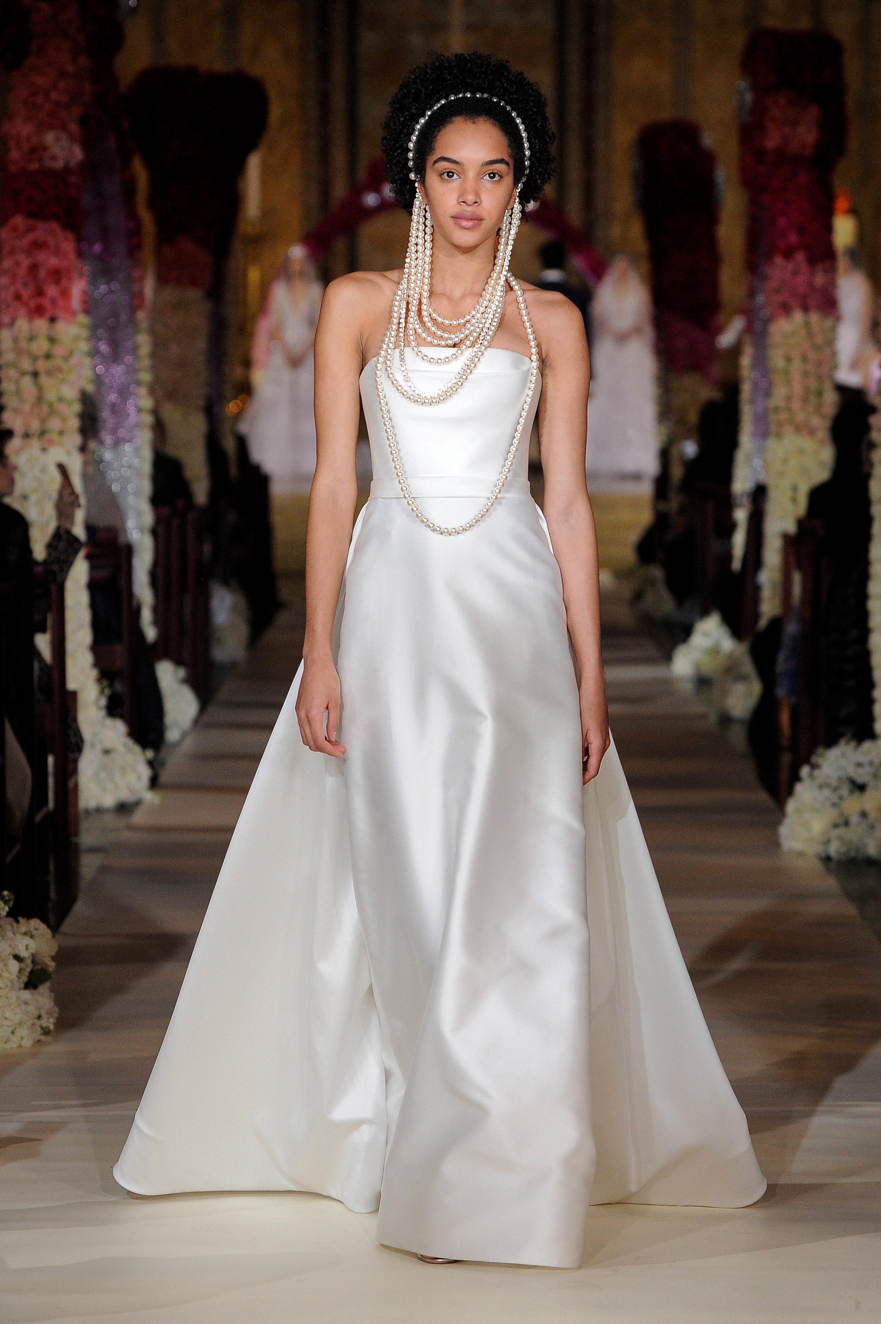 strapless straight across a-line wedding dress Reem Acra Spring 2020