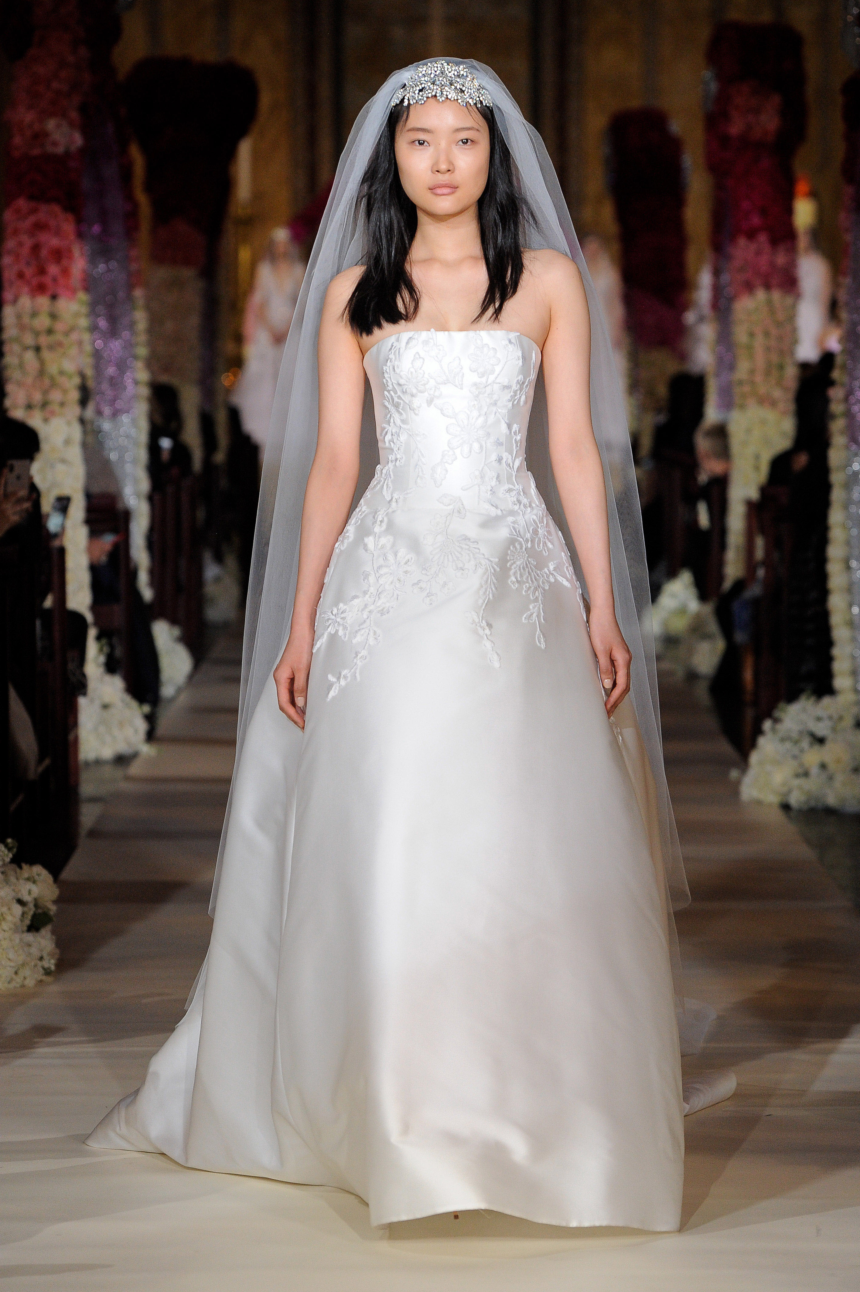 strapless straight across embroidered a-line wedding dress Reem Acra Spring 2020