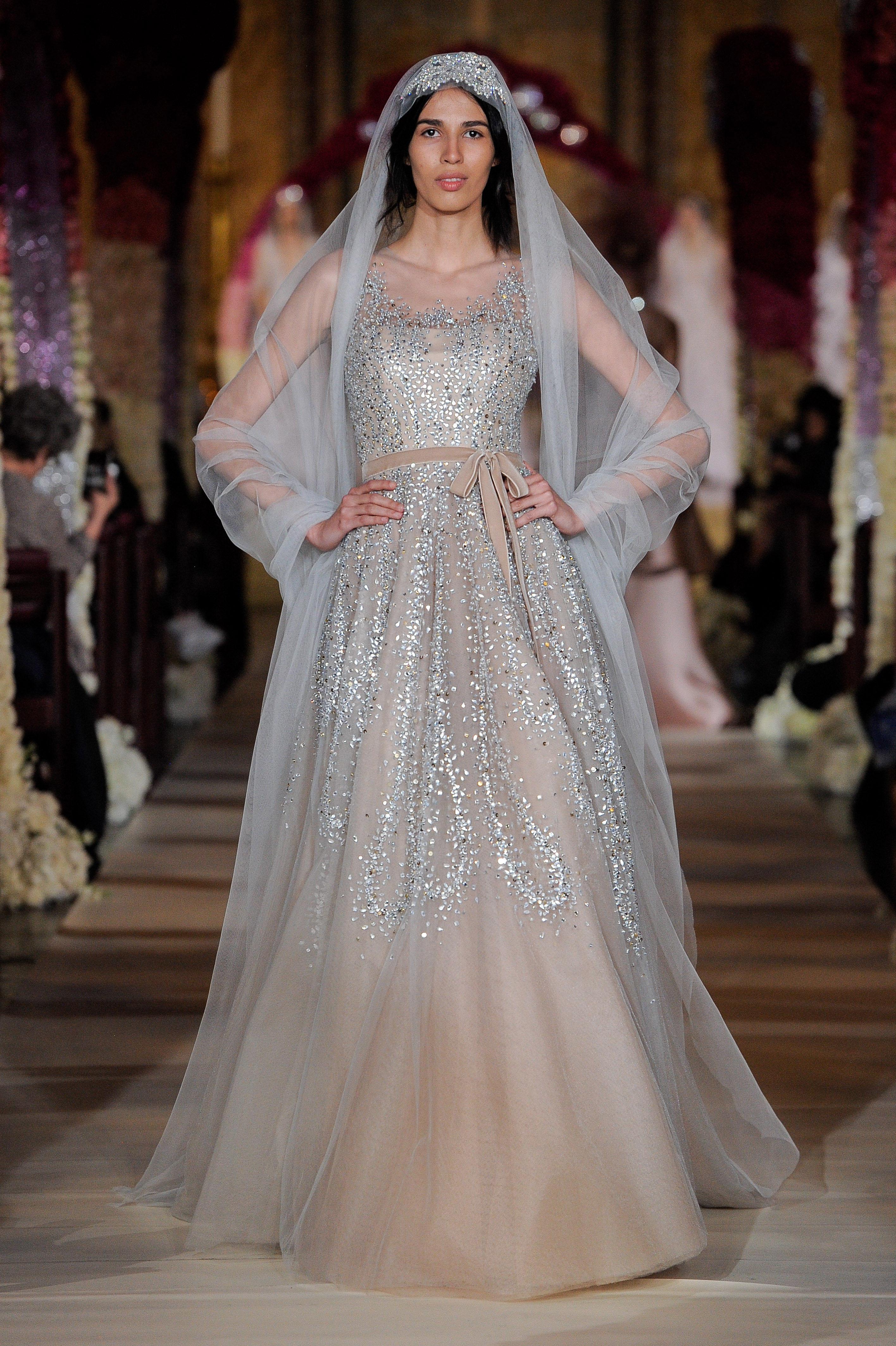 scoop neck glitter beading bow belted a-line wedding dress Reem Acra Spring 2020