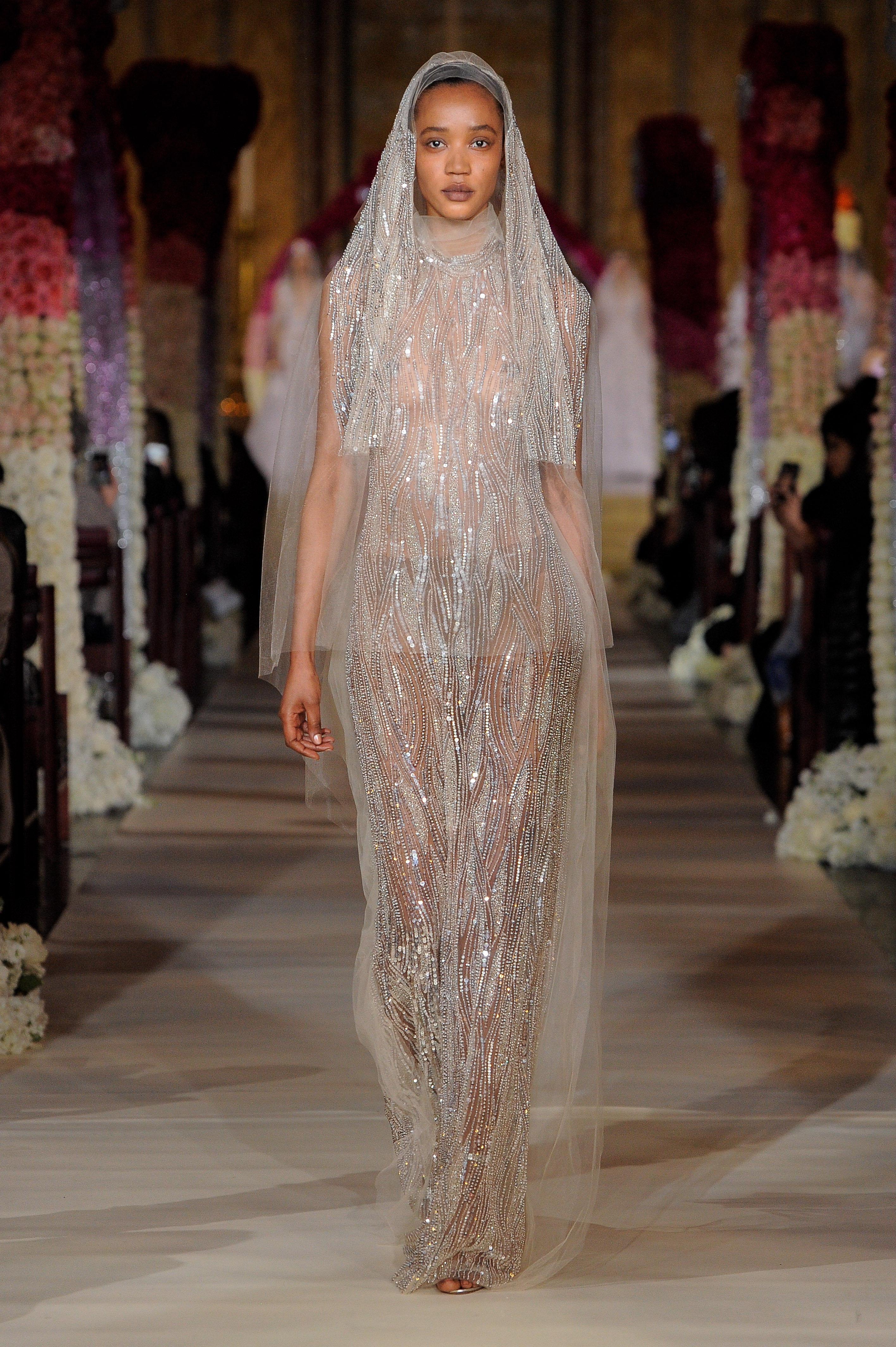 high neck sheer beaded sheath wedding dress Reem Acra Spring 2020