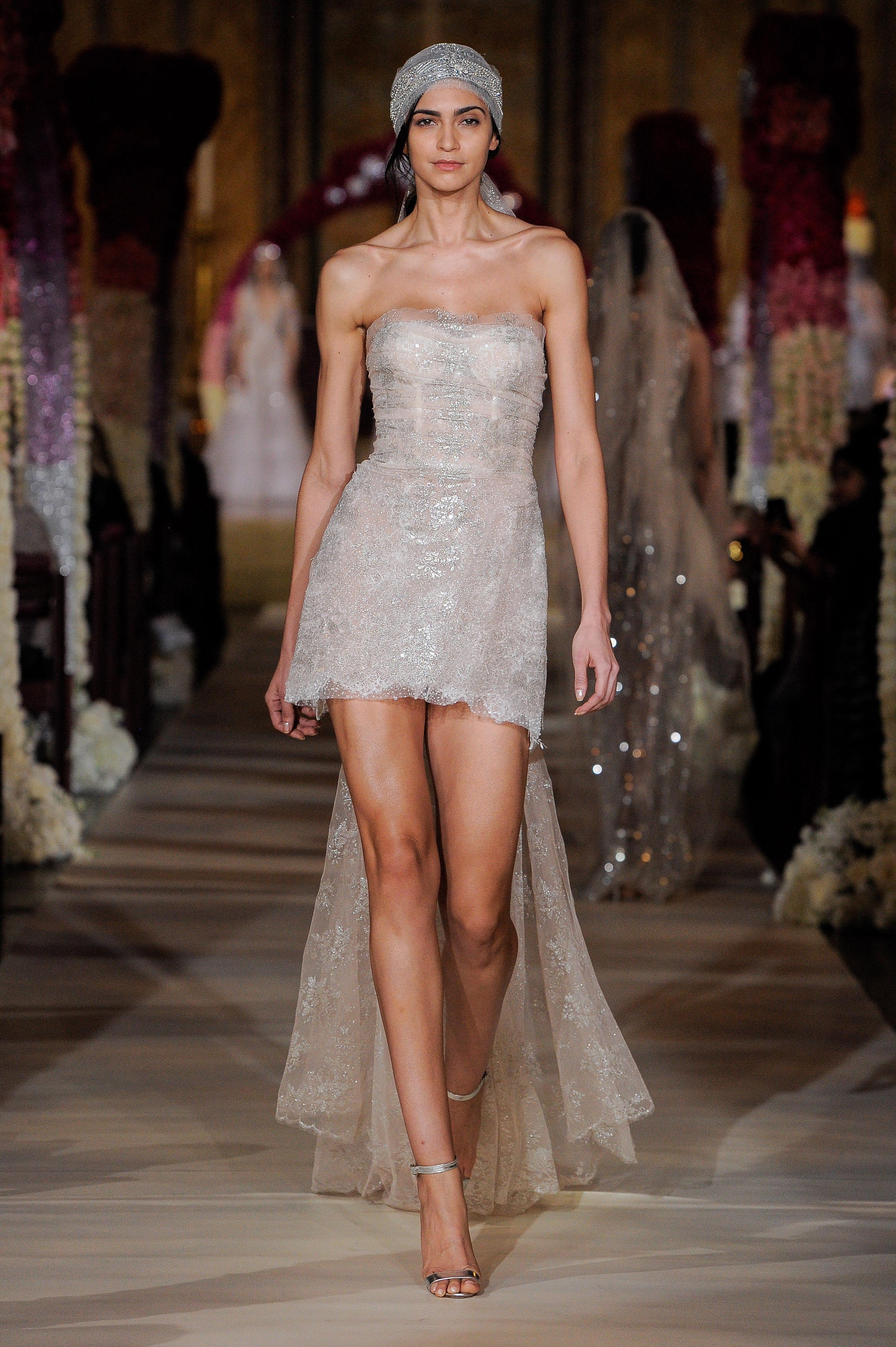 high-low strapless straight across wedding dress Reem Acra Spring 2020